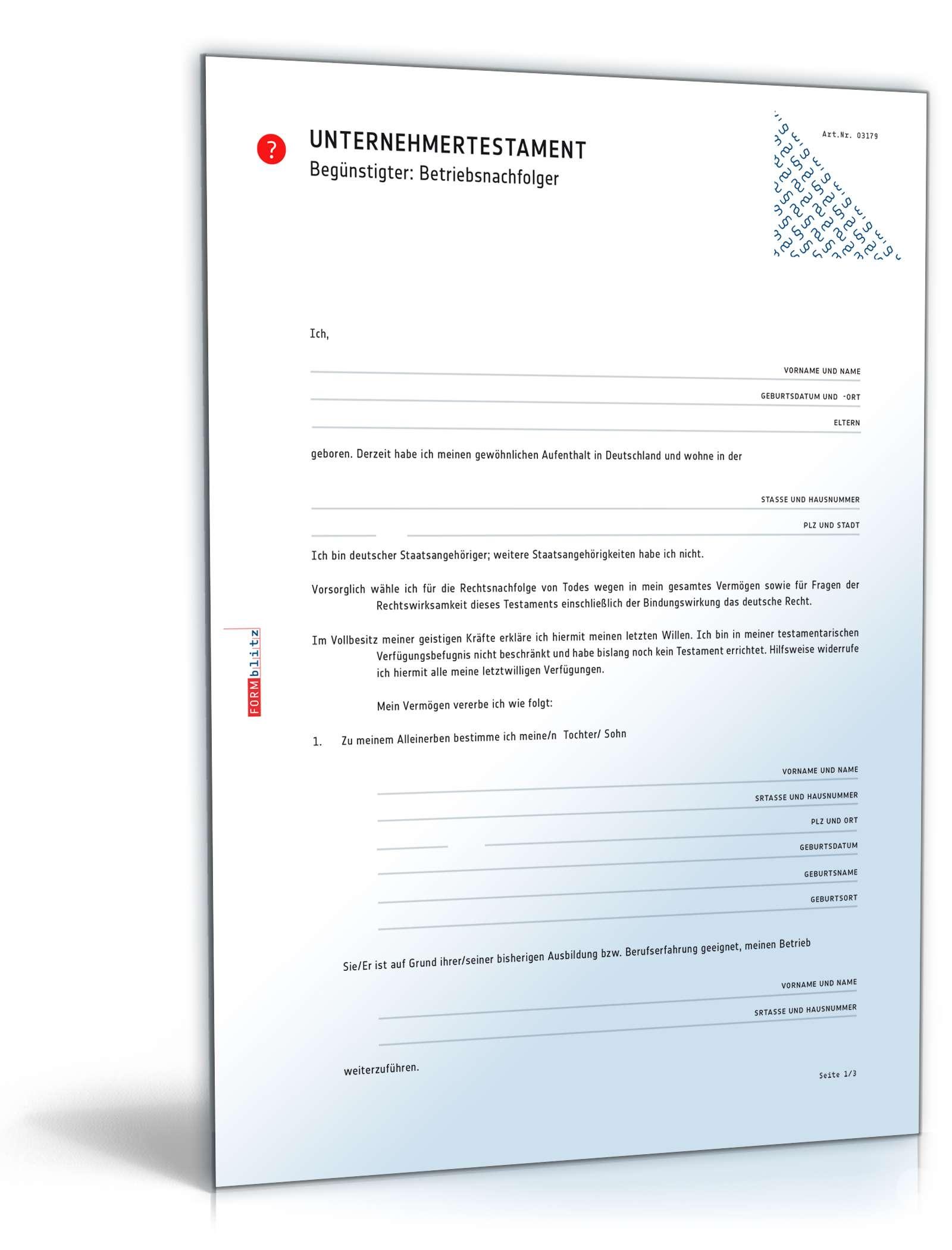 Musterbriefe Notar : Testament für unternehmensnachfolge vorlage zum download