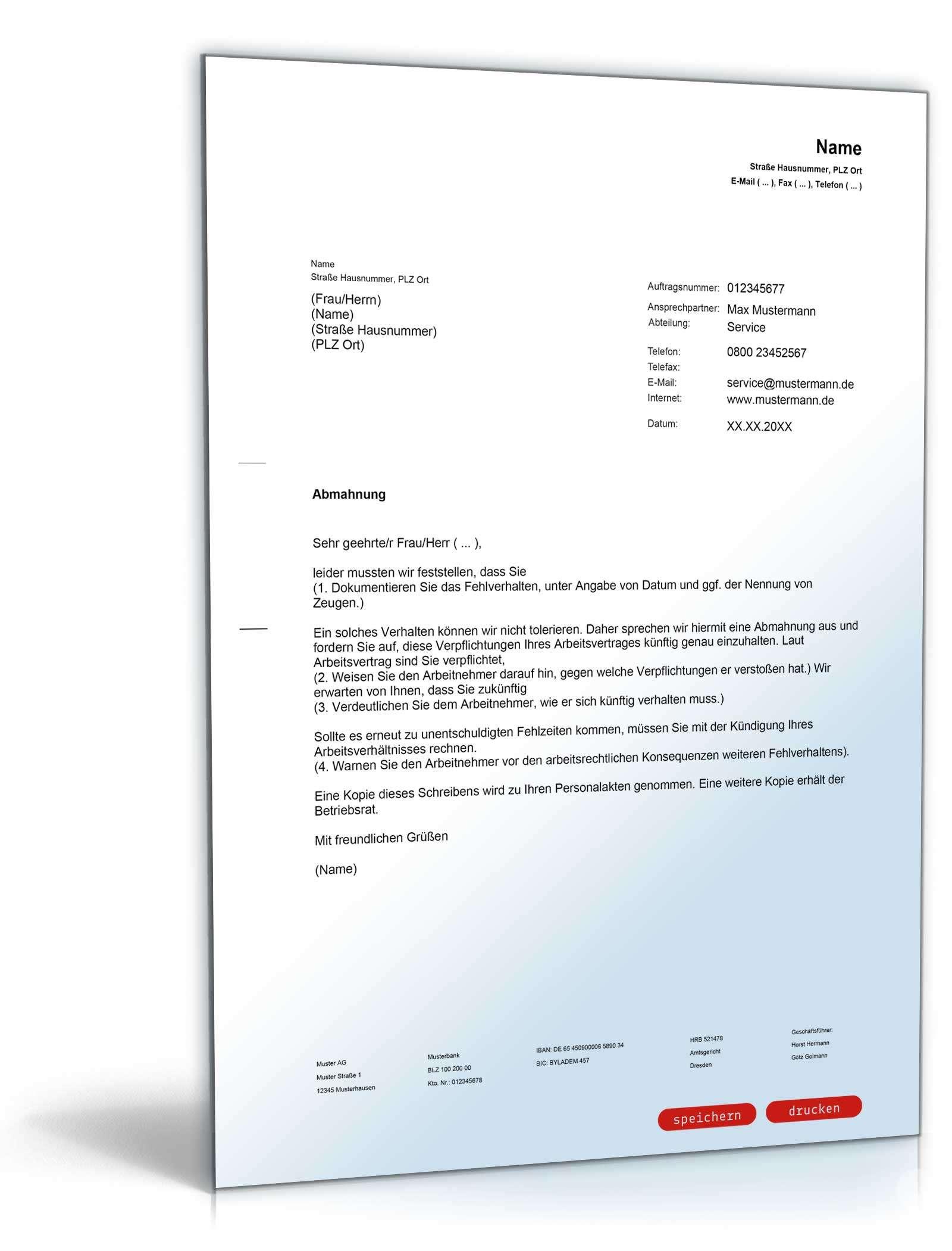Musterbriefe Arbeitgeber : Abmahnung arbeitnehmer muster zum download