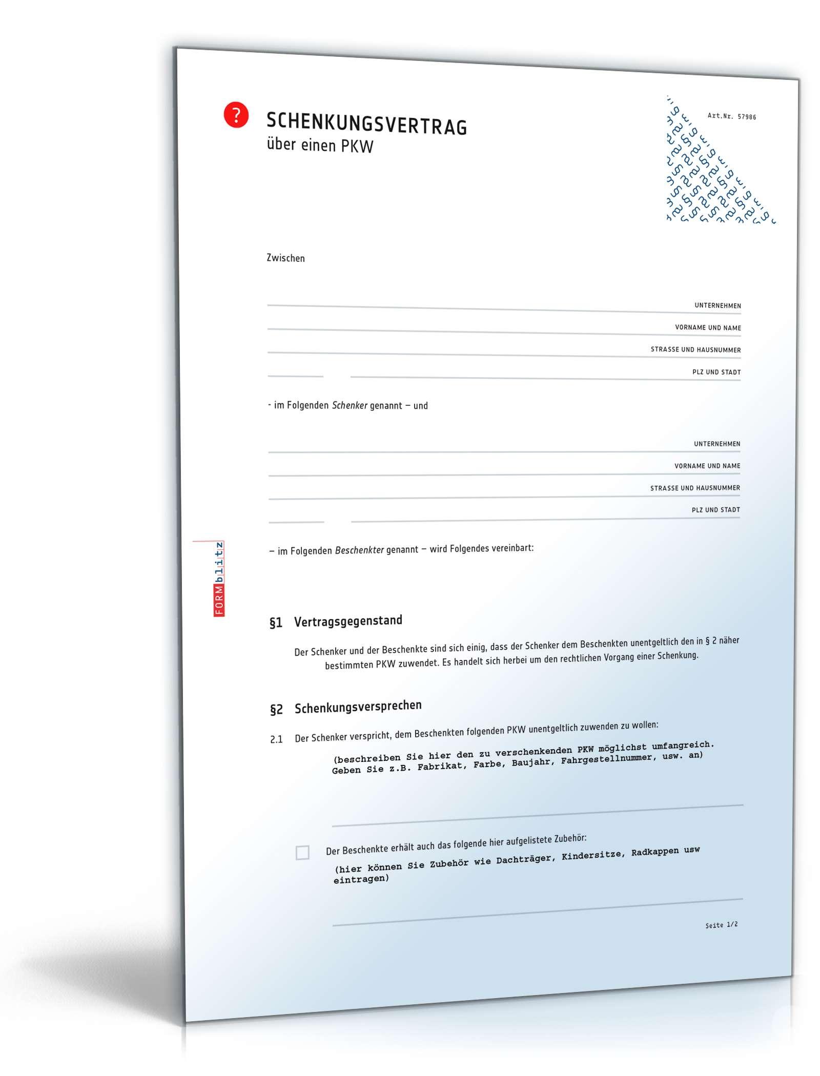 schenkungsvertrag auto muster als pdf doc zum download. Black Bedroom Furniture Sets. Home Design Ideas