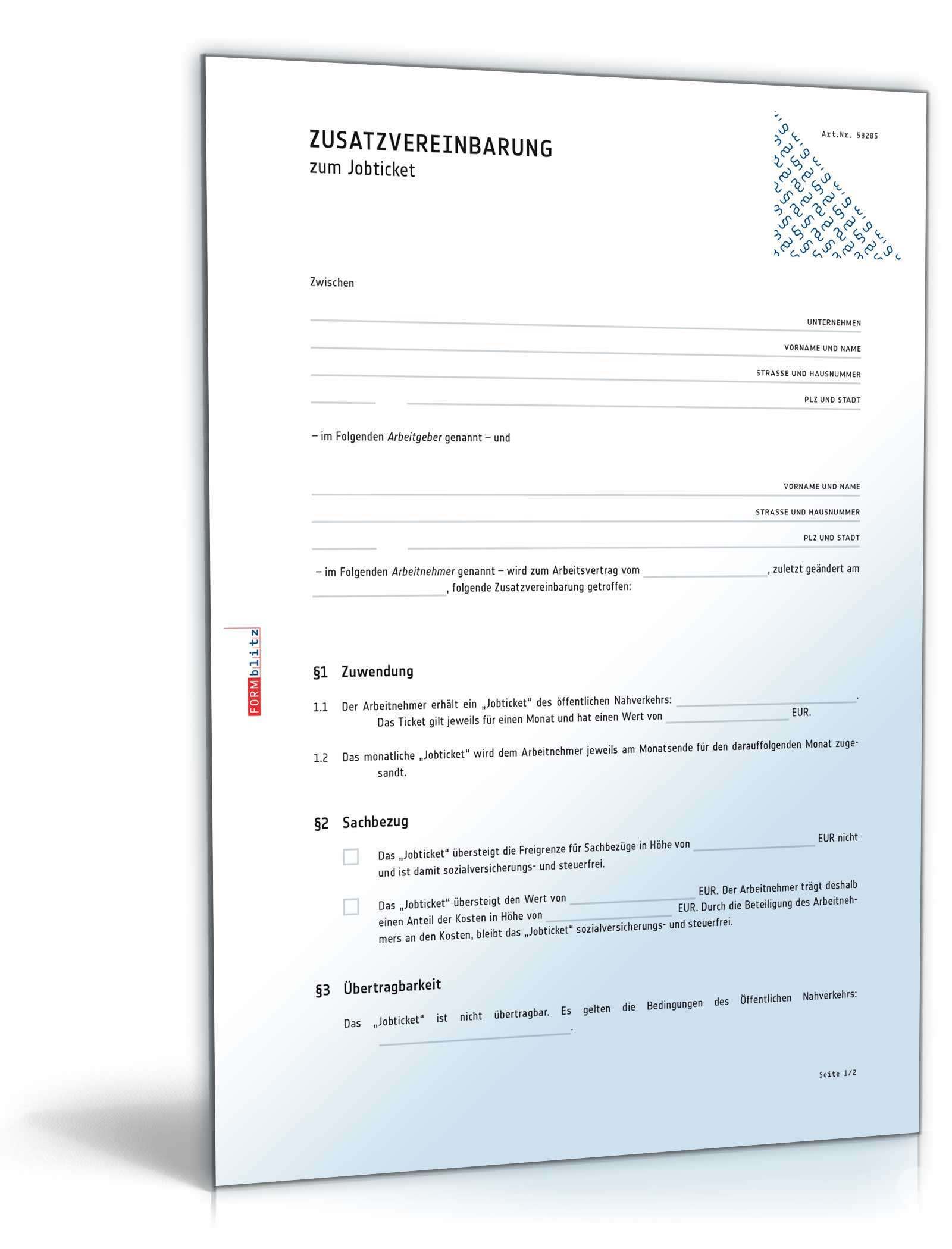 Musterbriefe Lohnerhöhung : Zusatzvereinbarung zum jobticket muster download