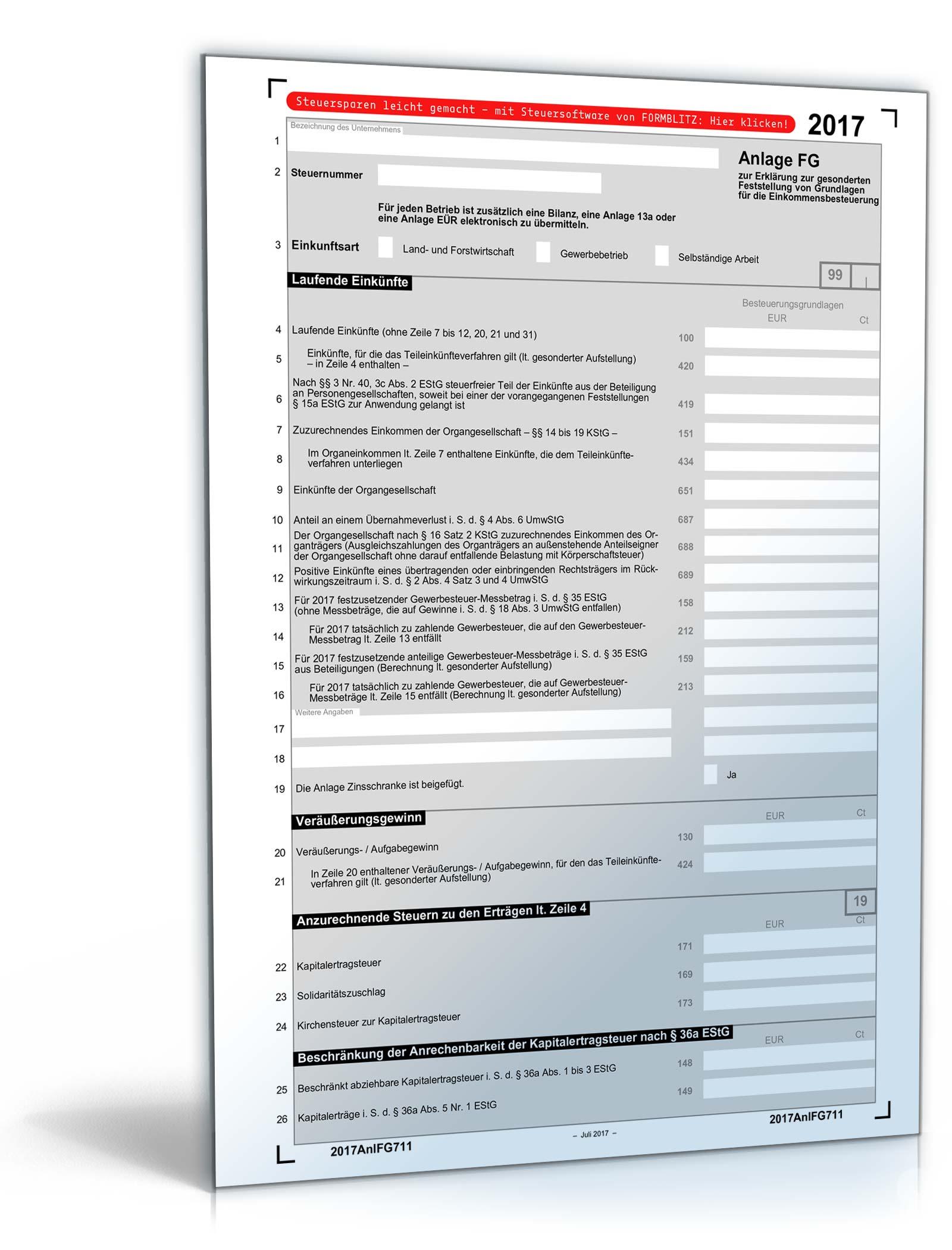 Anlage FG 2017   Steuerformular zum Download