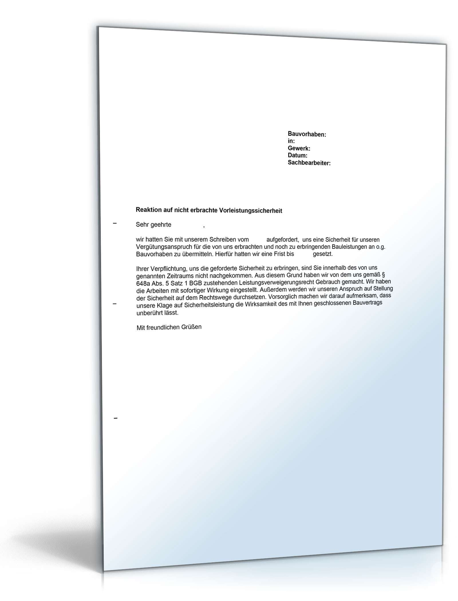 Weka Musterbriefe : Musterbrief arbeitseinstellung ohne vorleistungssicherheit