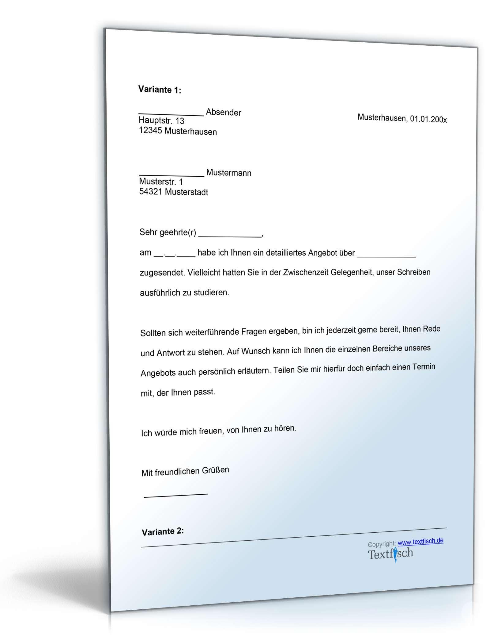 Follow-Up Schreiben nach Angebot | Vorlage zum Download