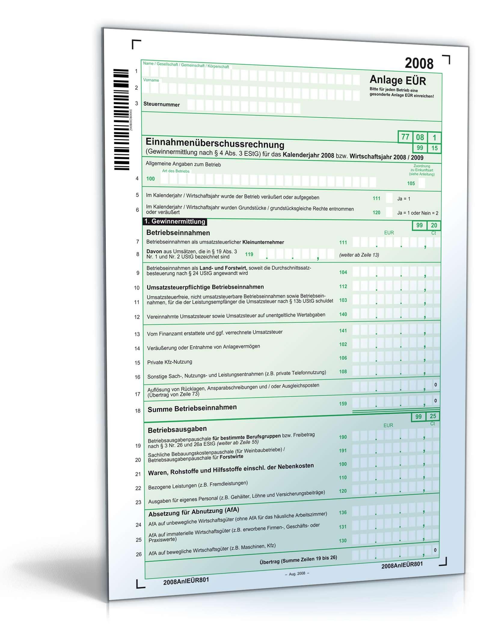 Anlage EÜR 2008   Steuerformular zum Download