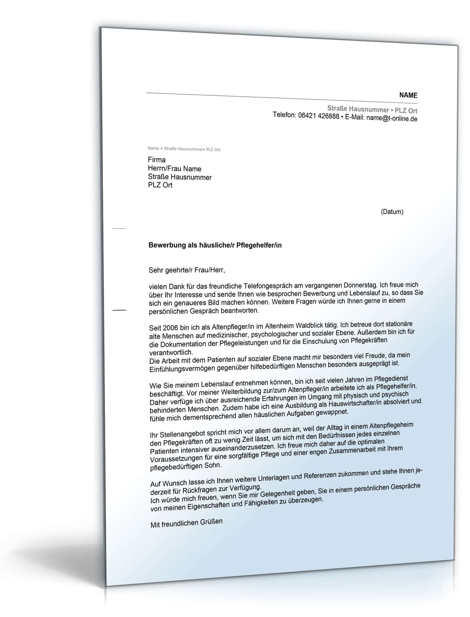 Musterbriefe Zur Bewerbung : Anschreiben bewerbung pflegehelfer muster zum download