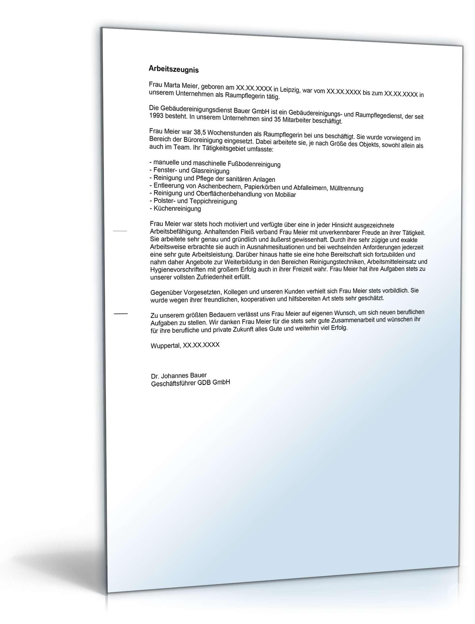 arbeitszeugnis raumpfleger note eins muster zum download. Black Bedroom Furniture Sets. Home Design Ideas