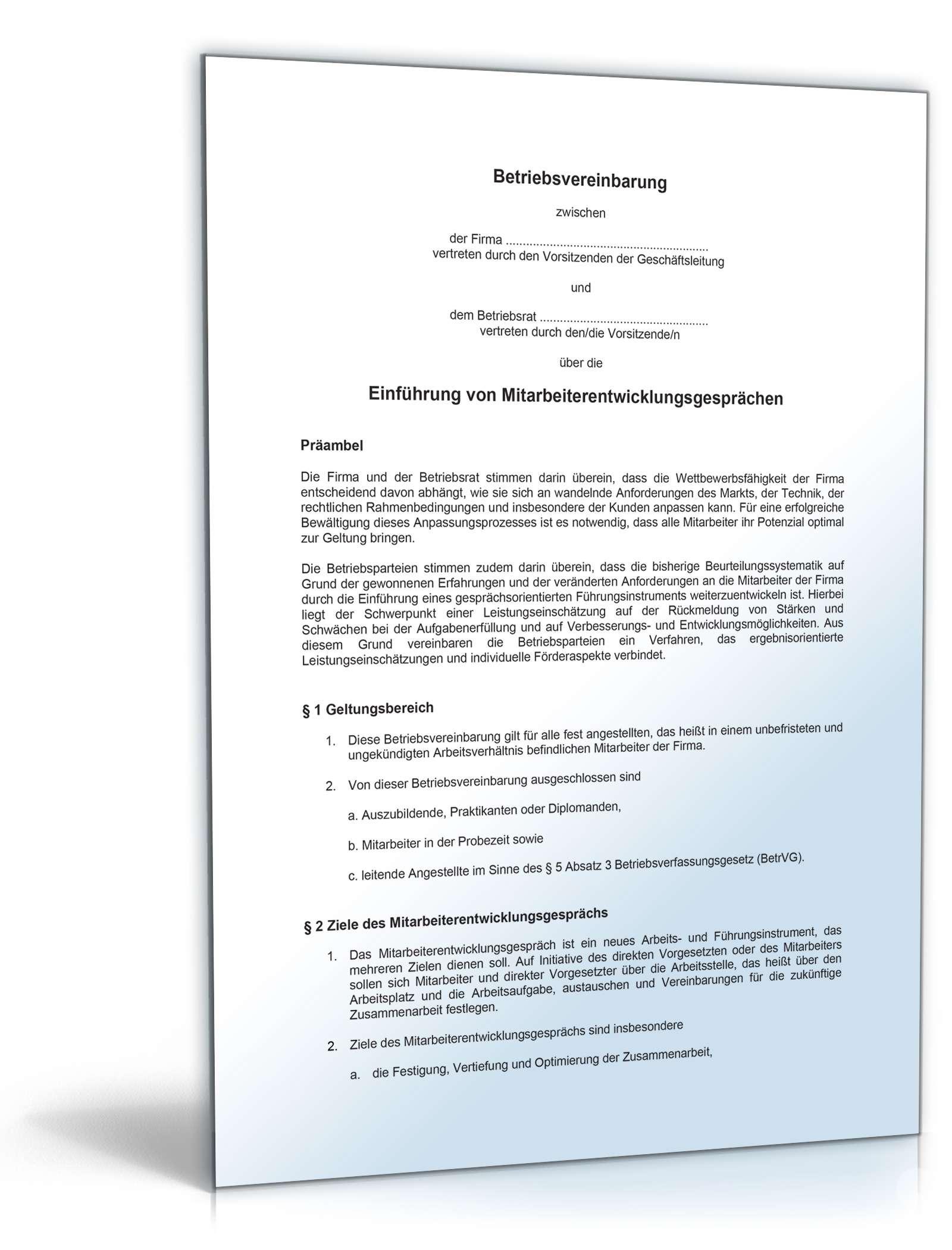 Musterbriefe Rente : Betriebsvereinbarung mitarbeiterentwicklungsgespräche