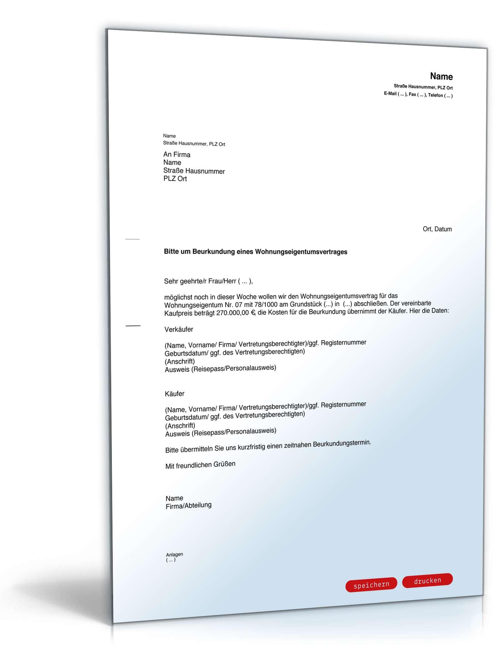 Musterbriefe Notar : Musterbrief an notar wegen wohnungskauf vorlage zum download