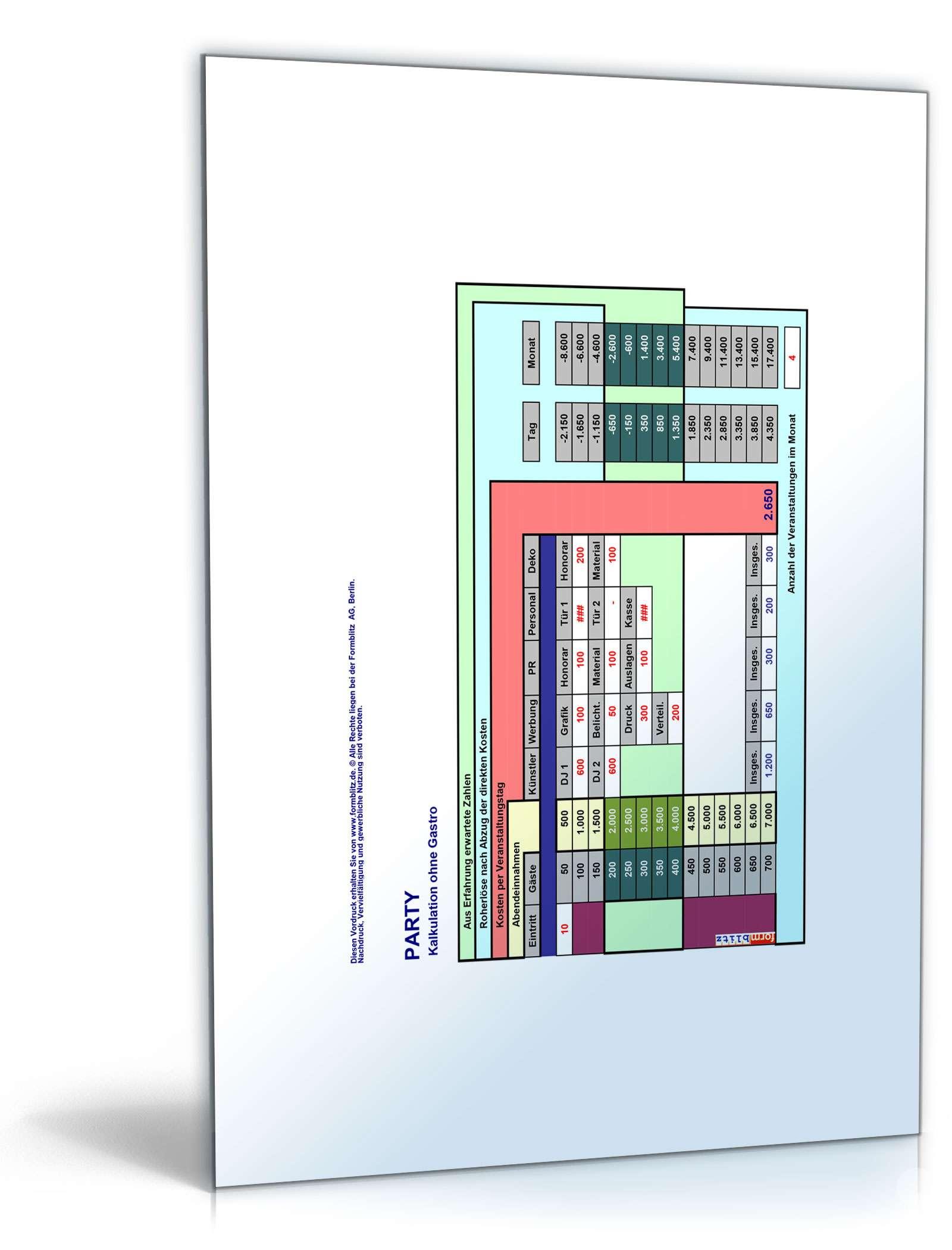 kalkulation veranstaltung vorlage zum download. Black Bedroom Furniture Sets. Home Design Ideas