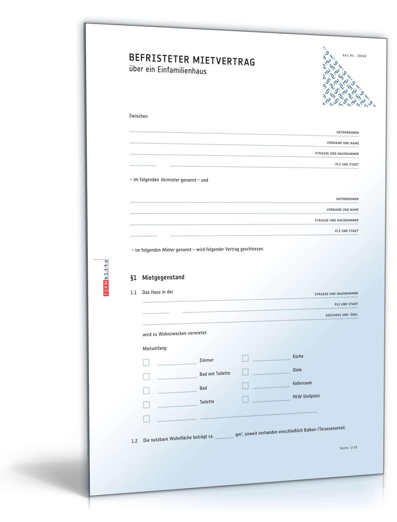 Befristeter mietvertrag einfamilienhaus muster zum download - Gartenpflege mietvertrag klausel ...