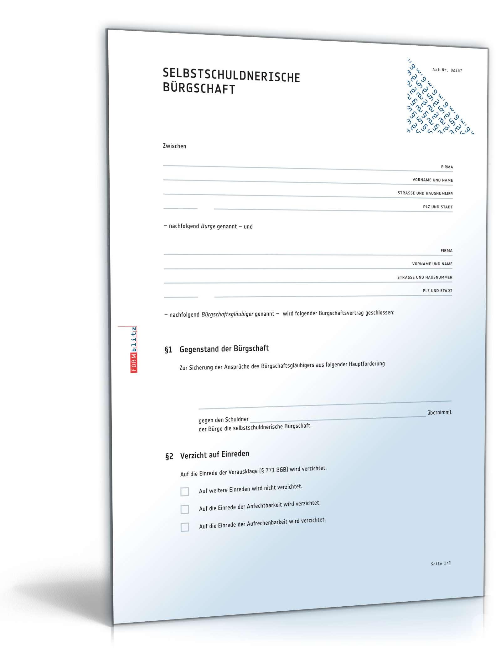 Musterbriefe Gläubiger : Selbstschuldnerische bürgschaft muster vorlage zum download