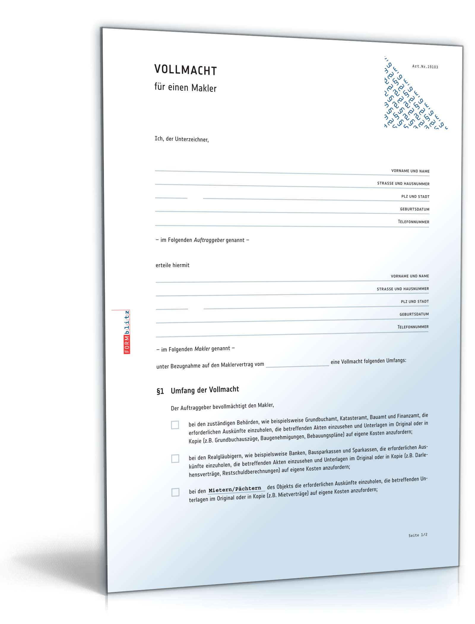 maklervollmacht rechtssicheres muster zum download. Black Bedroom Furniture Sets. Home Design Ideas