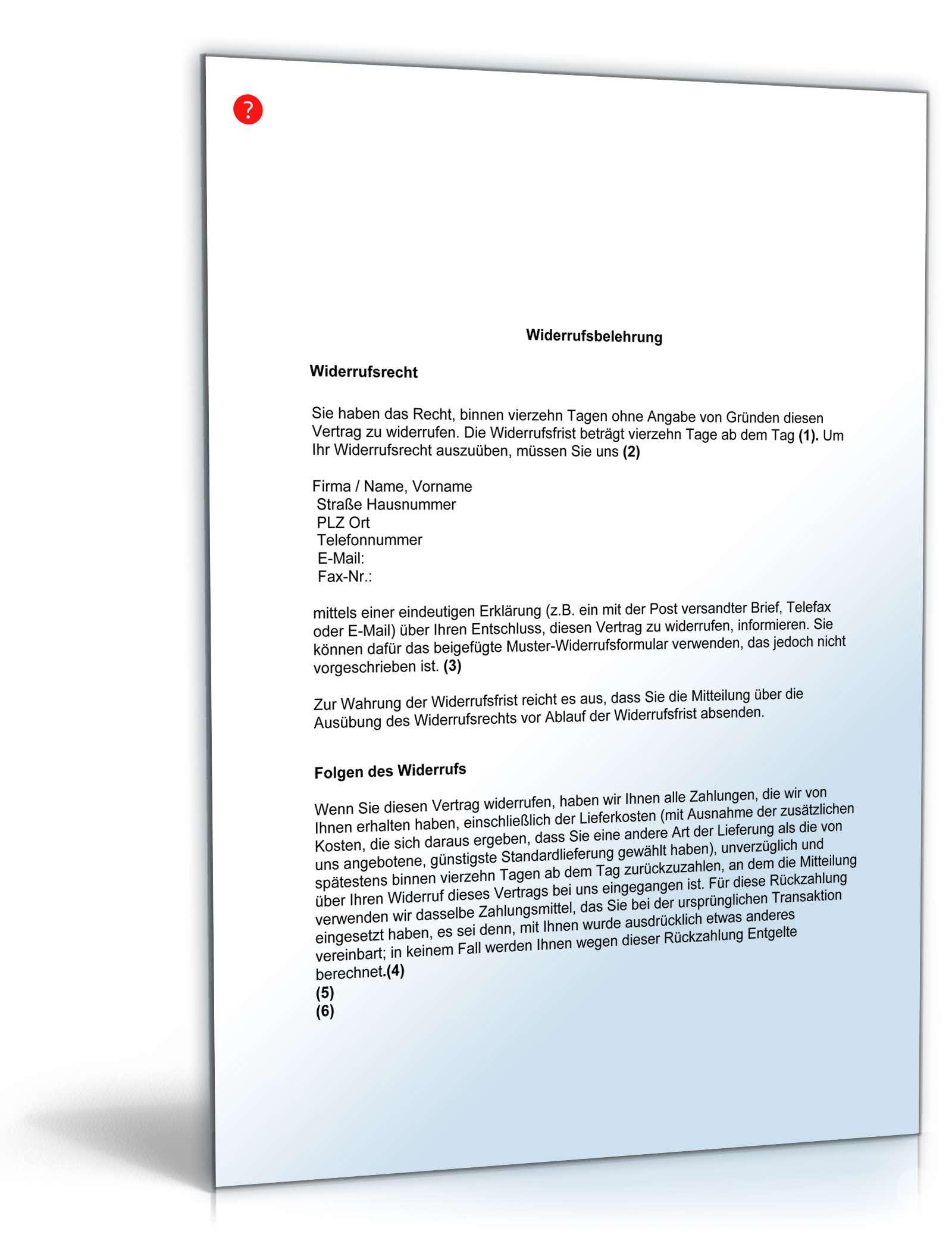 widerrufsbelehrung fernabsatzgesch ft muster zum download. Black Bedroom Furniture Sets. Home Design Ideas