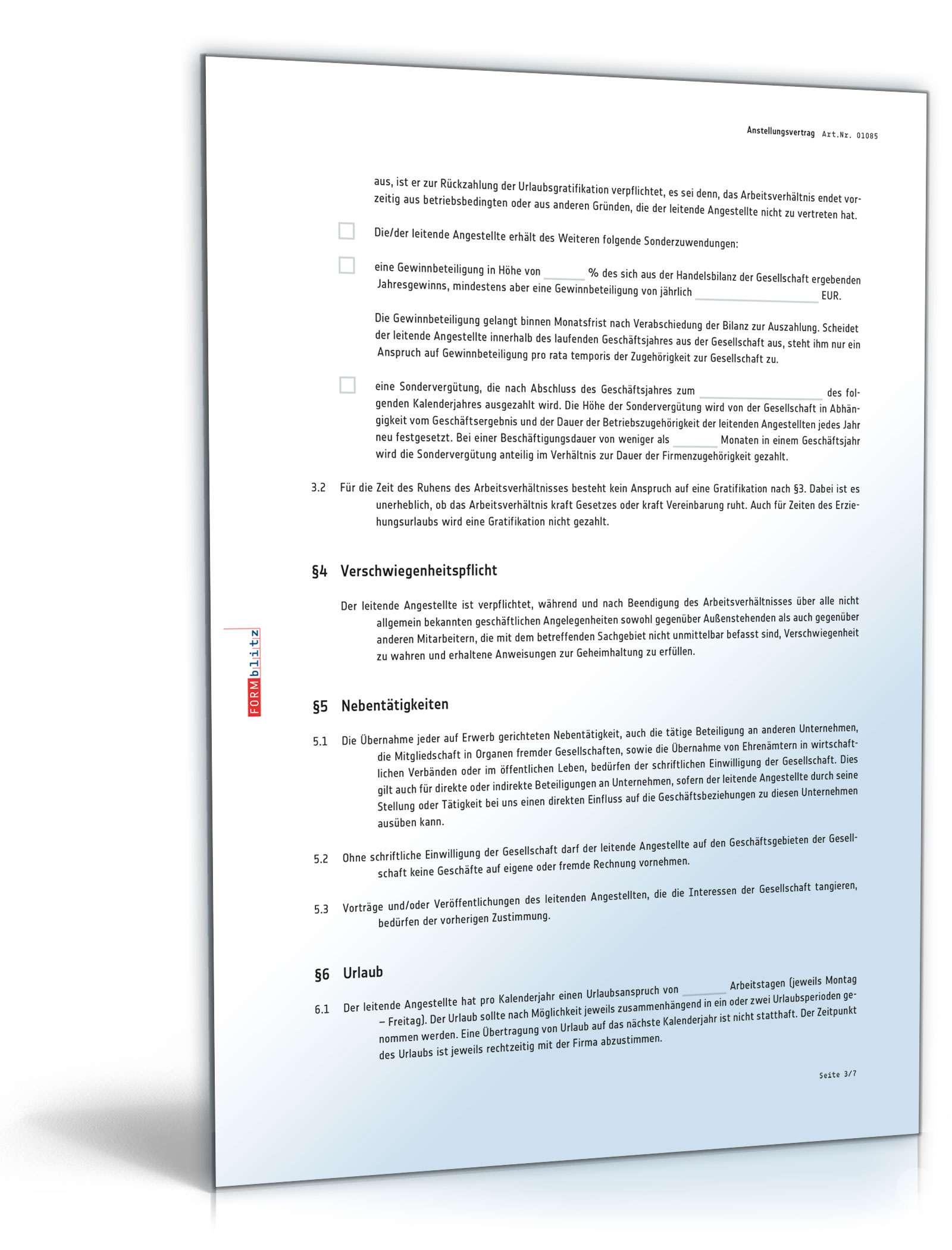 Anstellungsvertrag Leitende Angestellte Muster Zum Download