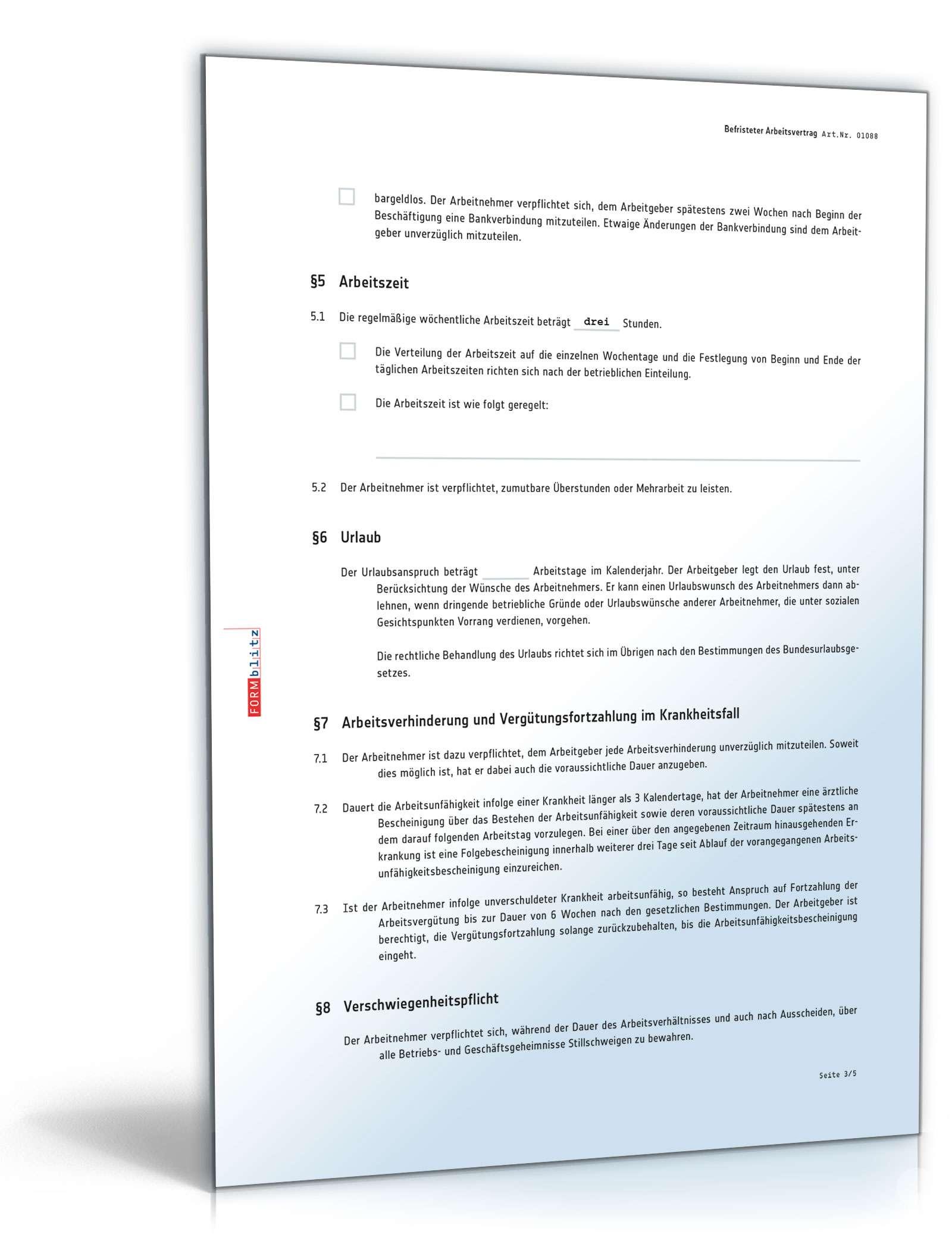 Befristeter Arbeitsvertrag Rechtssicheres Muster Zum Download