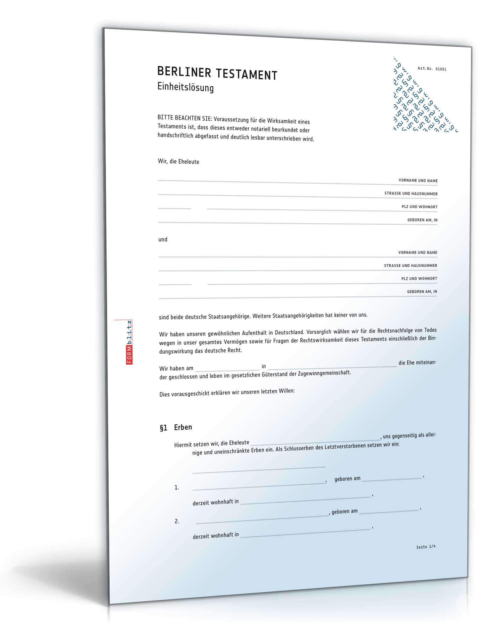 Berliner Testament Einheitslösung Muster Zum Download