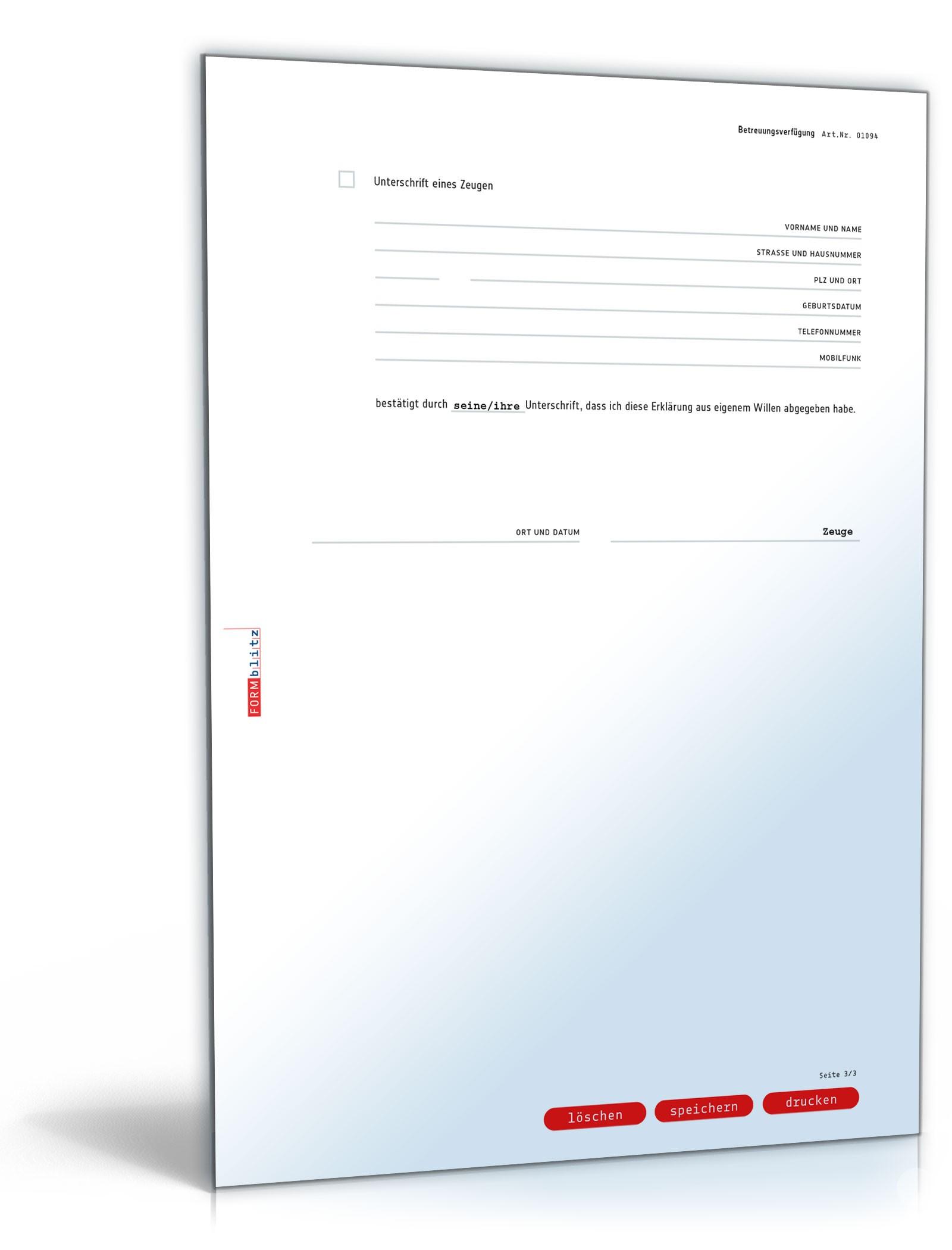 Einfache Betreuungsverfügung Vorlage Zum Download