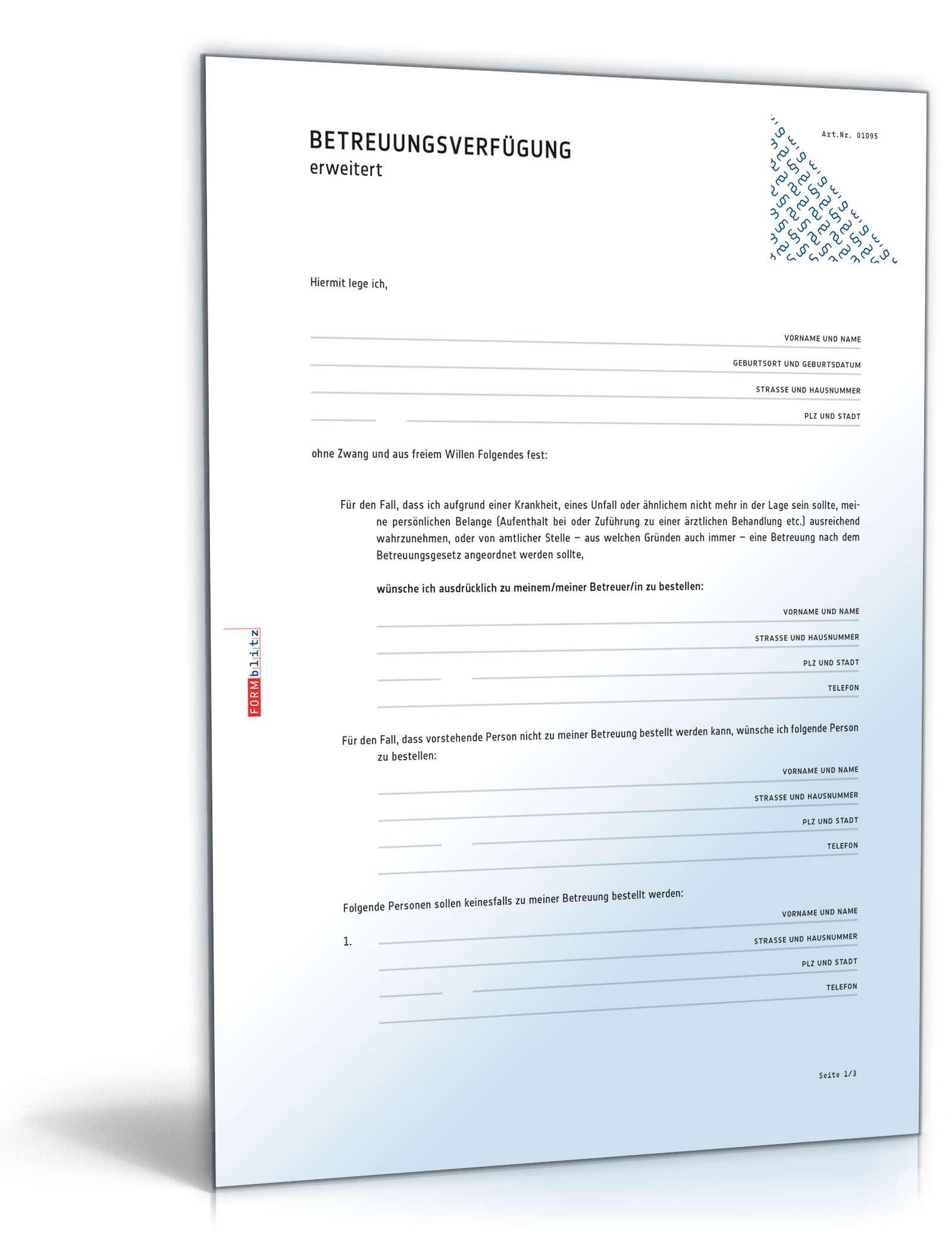 detaillierte betreuungsverfgung muster als download - Betreuungsvollmacht Muster
