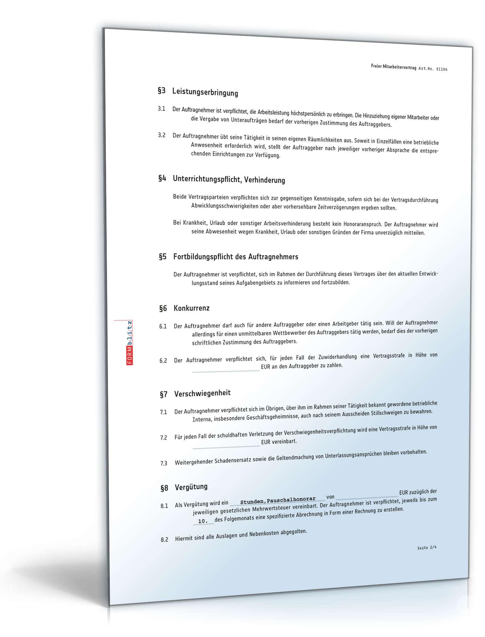 Freier Mitarbeiter Vertrag Rechtssicheres Muster Downloaden