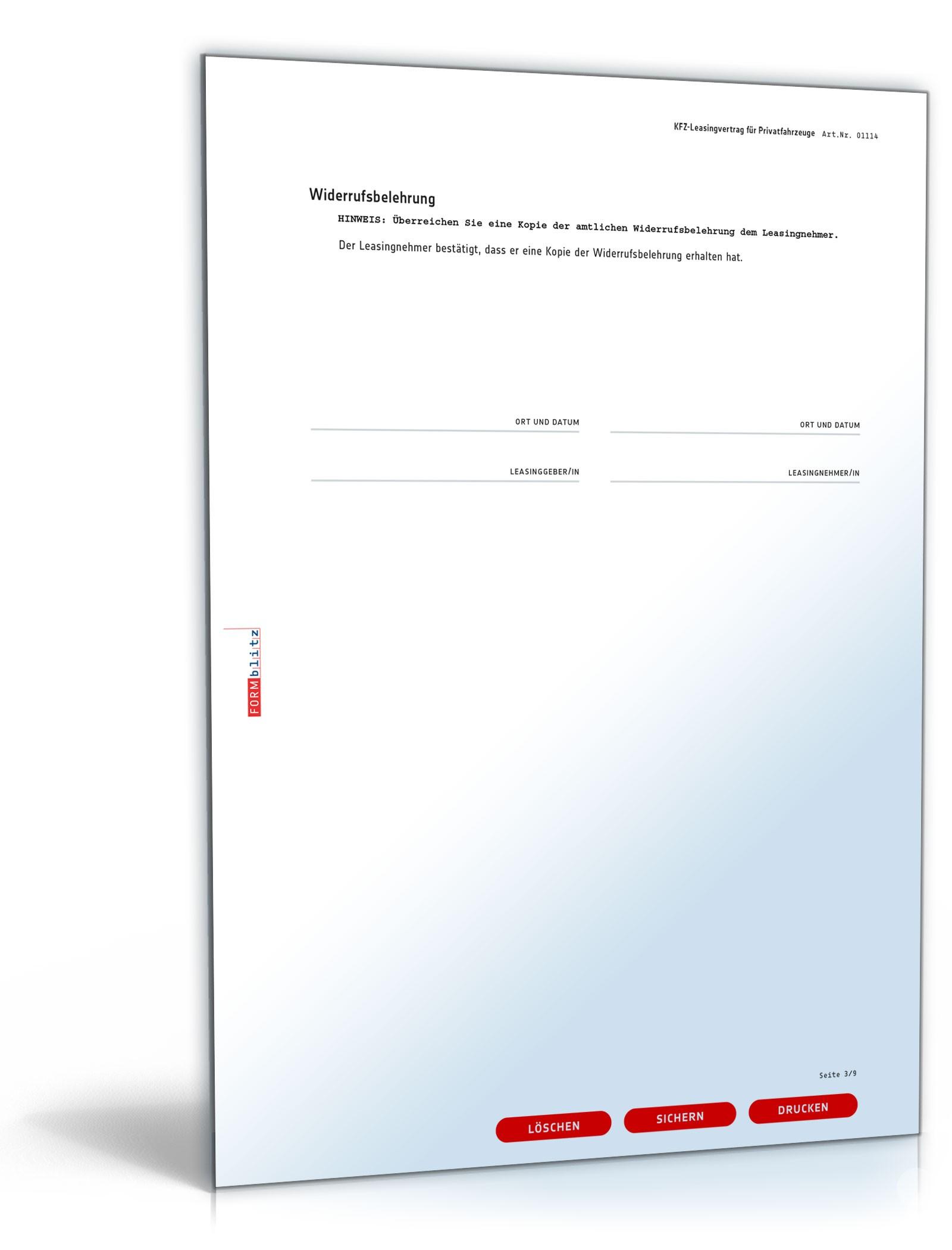 Kfz-Leasingvertrag Privatfahrzeuge | Vorlage zum Download