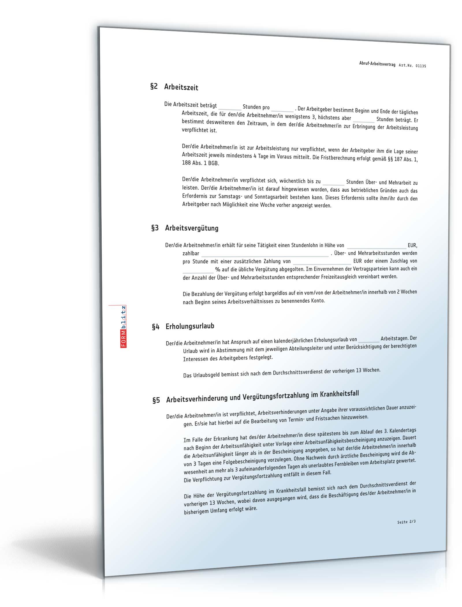 Abruf Arbeitsvertrag Rechtssichere Vorlage Zum Download