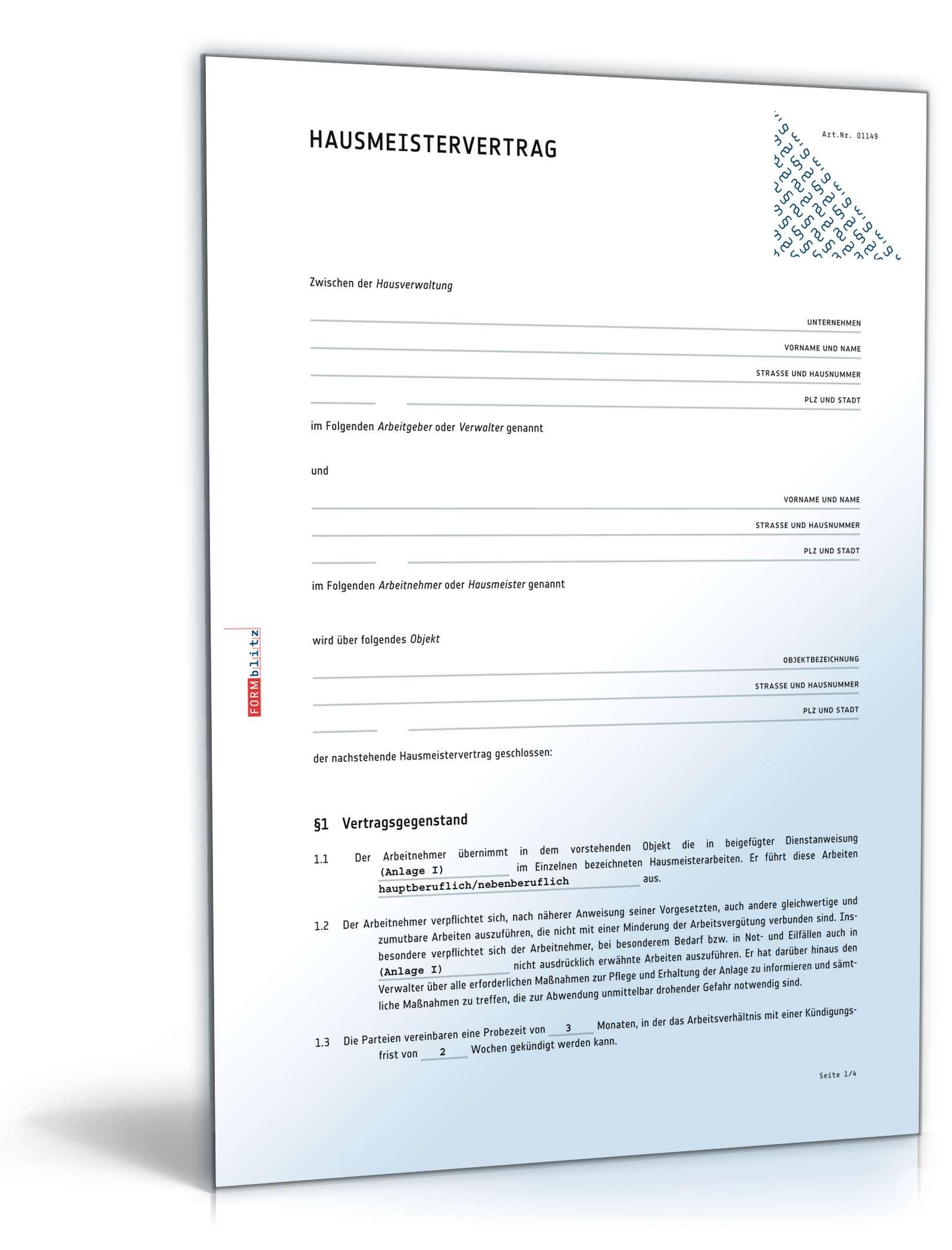 Hausmeistervertrag | Rechtssicheres Muster zum Download