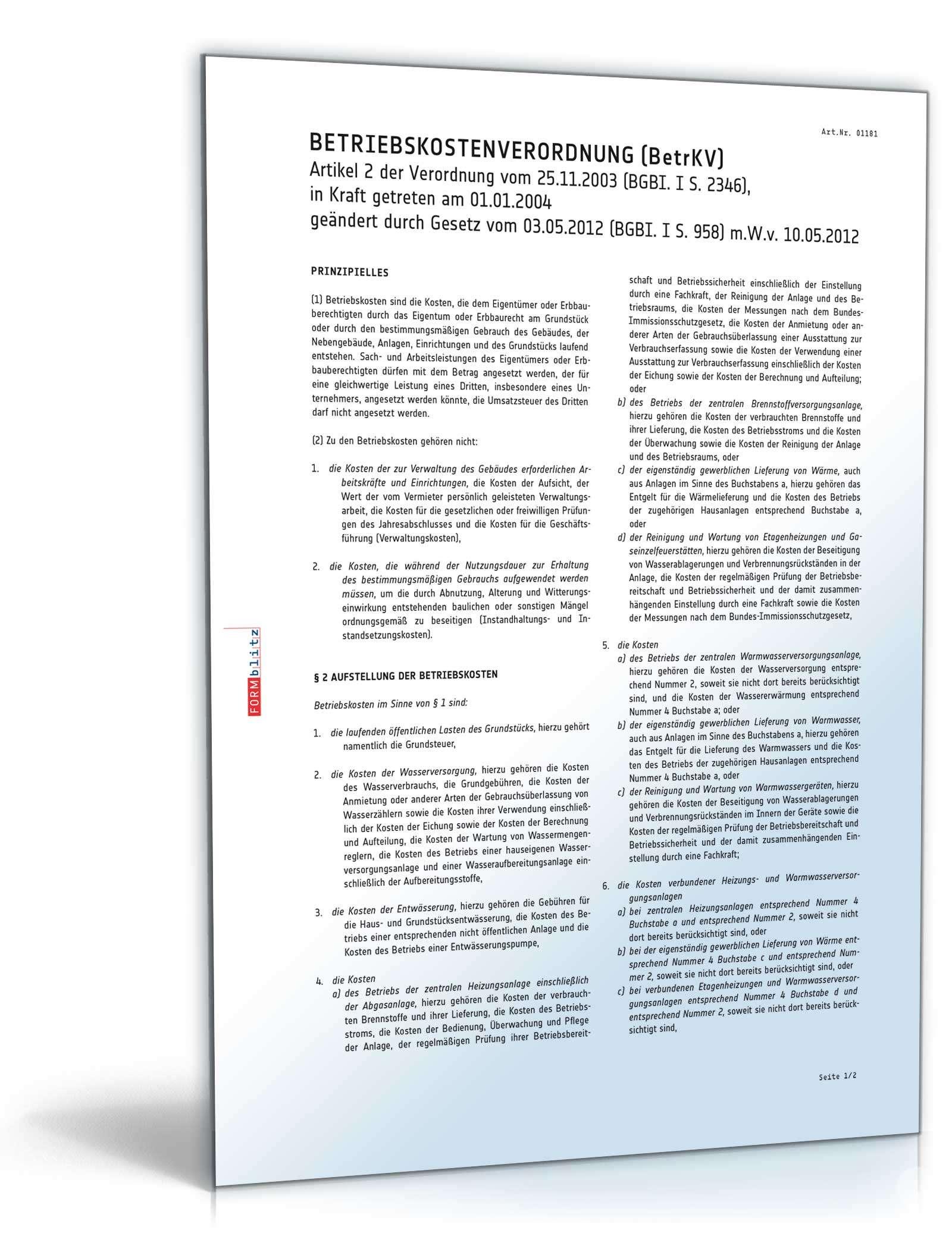 Betriebskostenverordnung Betrkv Gratis Zum Download
