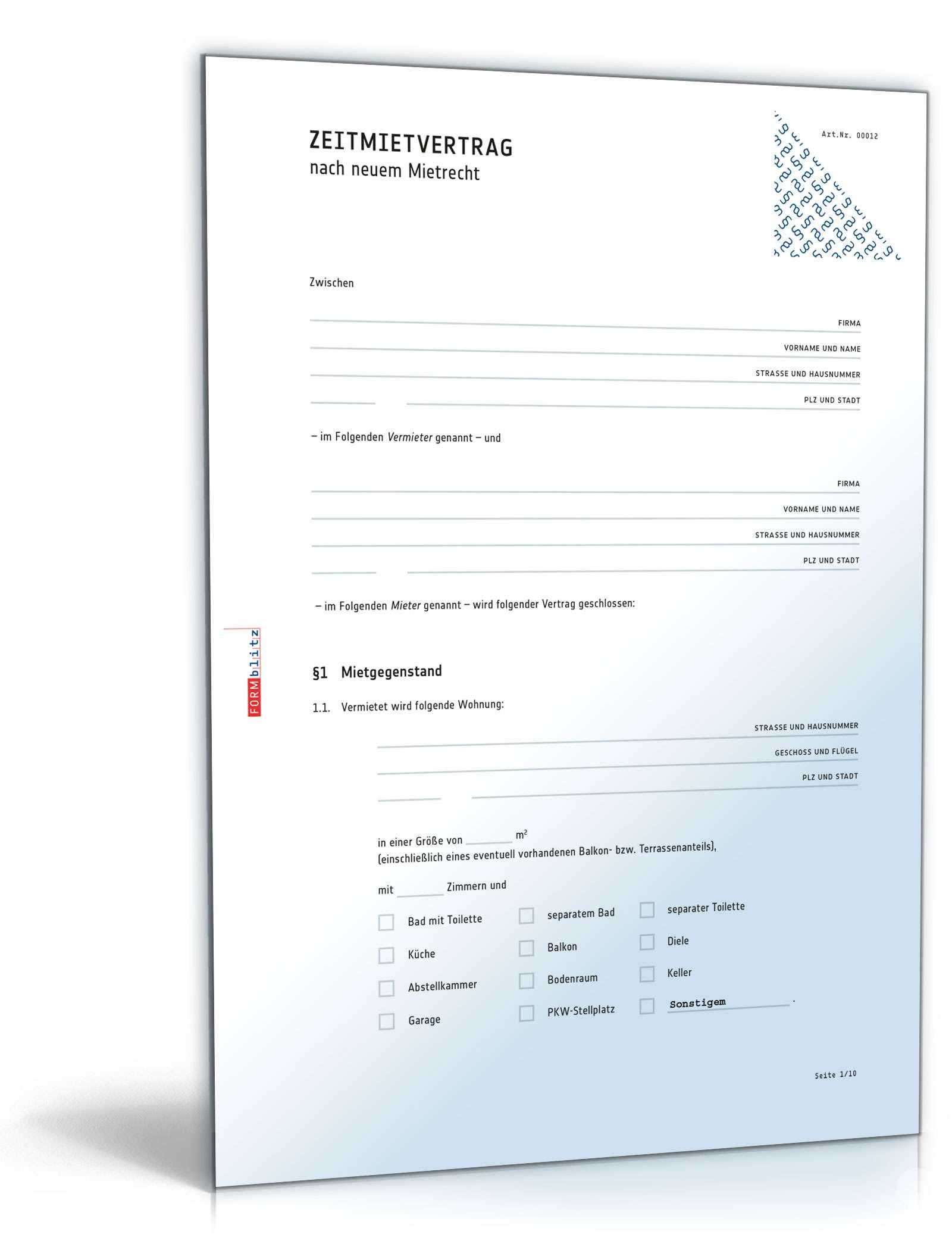 Rechtssicherer Zeitmietvertrag Muster Zum Download
