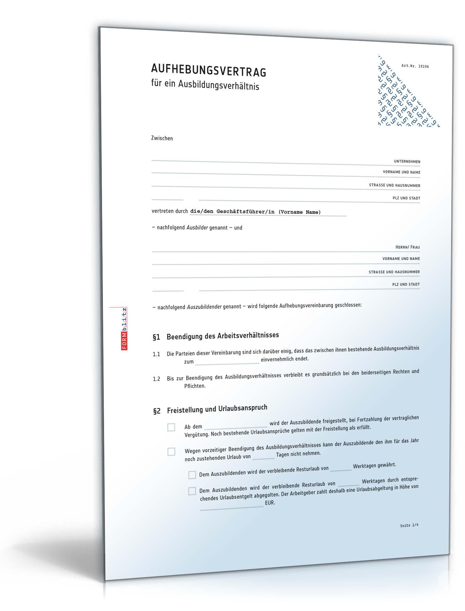 Aufhebungsvertrag Ausbildungsverhältnis Muster Zum Download