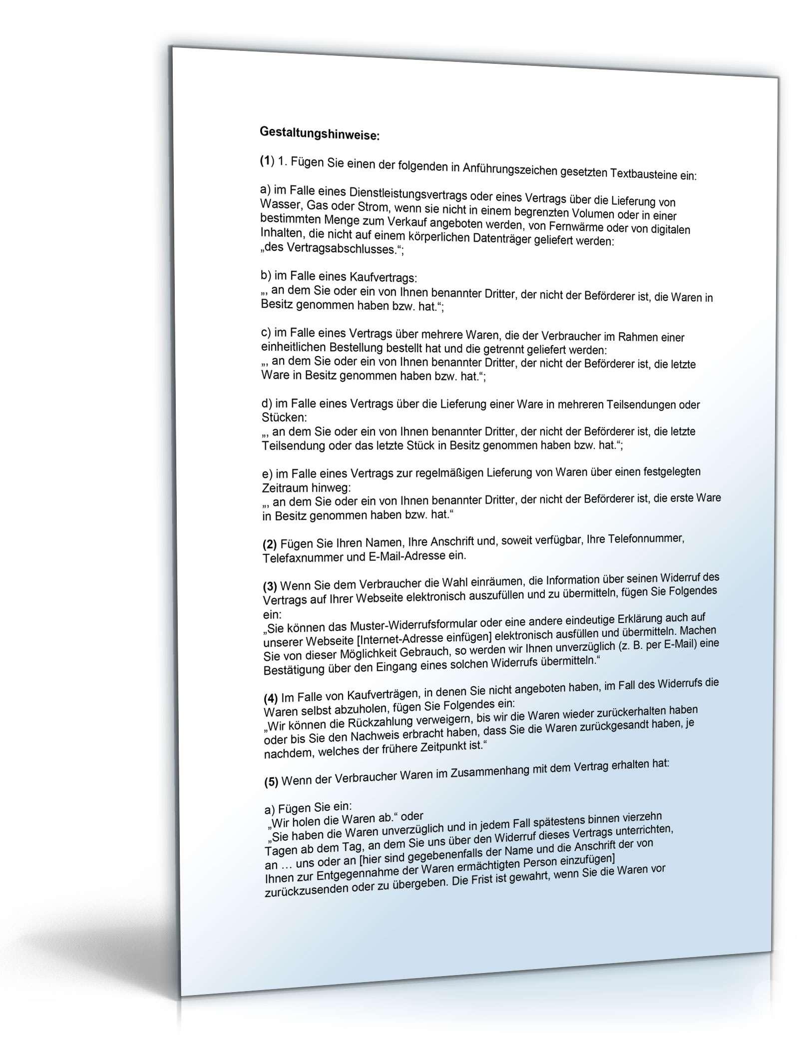 Widerrufsbelehrung für eBay-Verkäufer | Muster zum Download