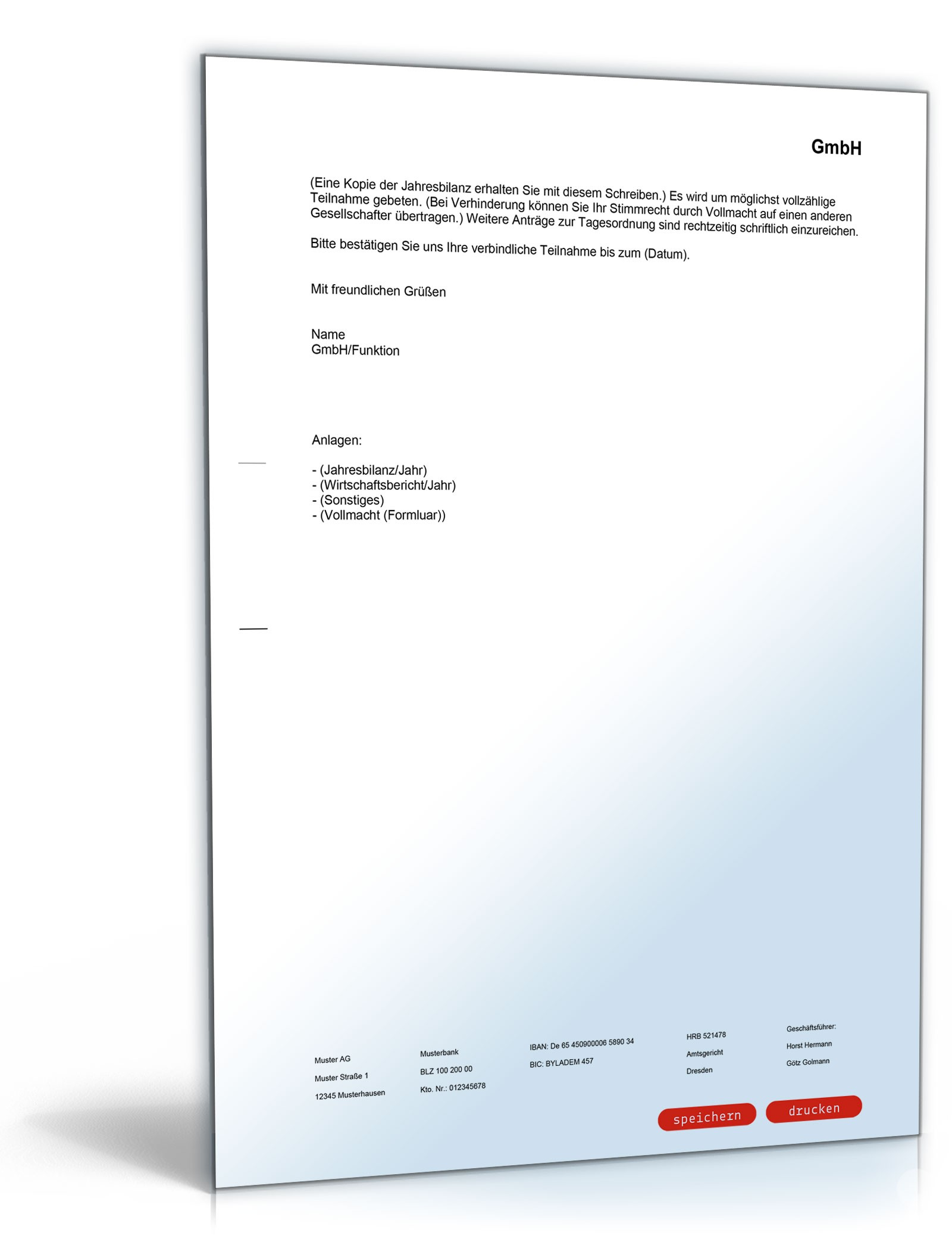 einladung ordentliche gesellschafterversammlung gmbh, Einladung