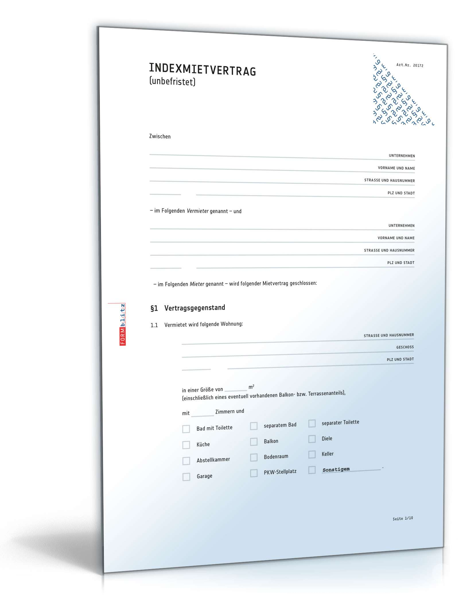 Indexmietvertrag Muster Zum Download