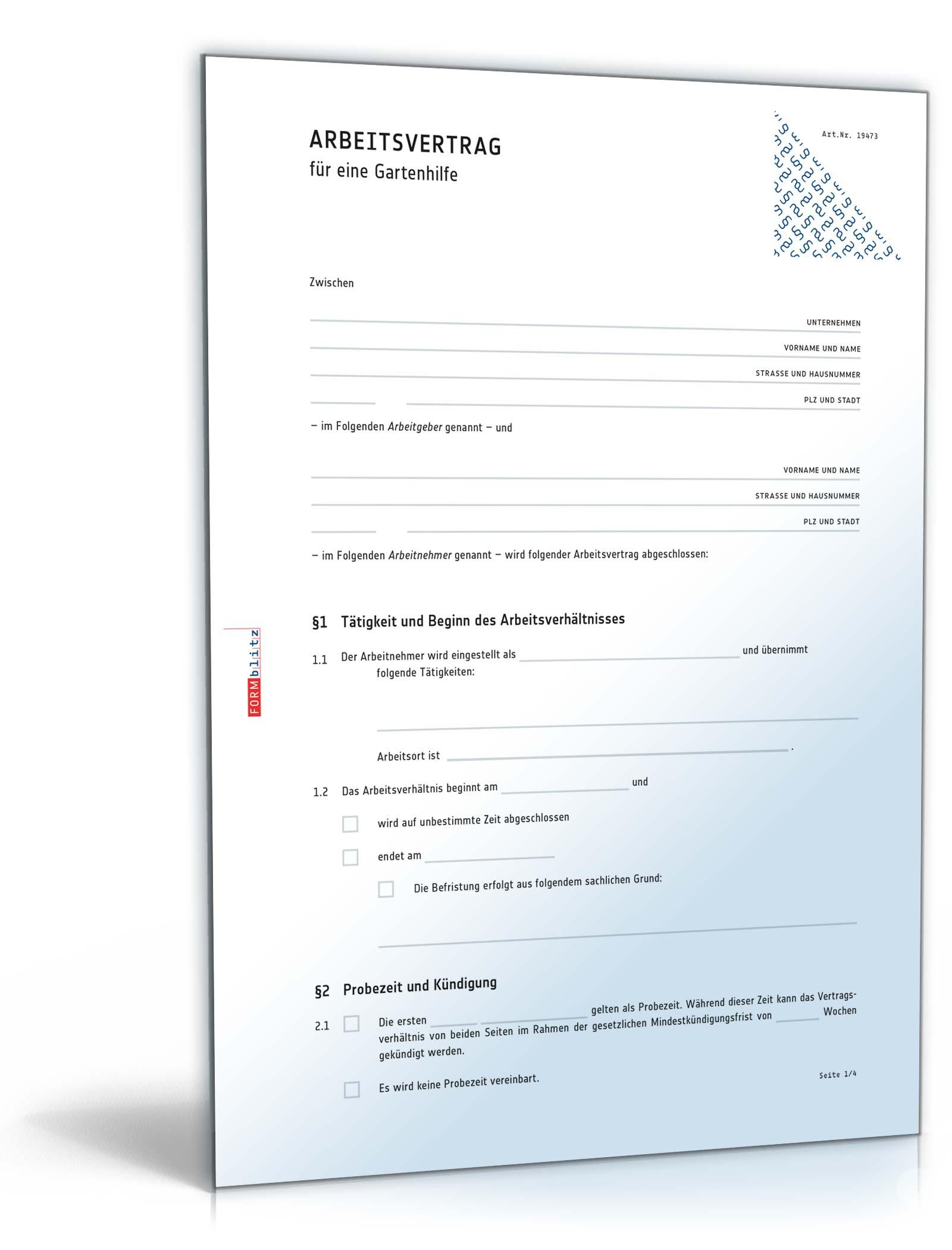 Arbeitsvertrag Gärtner Anwaltsgeprüftes Muster Zum Download