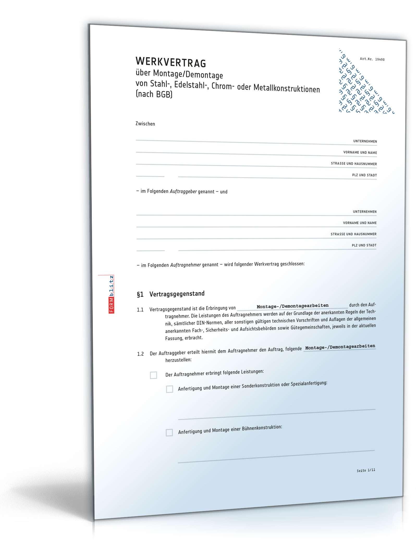 Werkvertrag Montage Oder Demontage Muster Zum Download