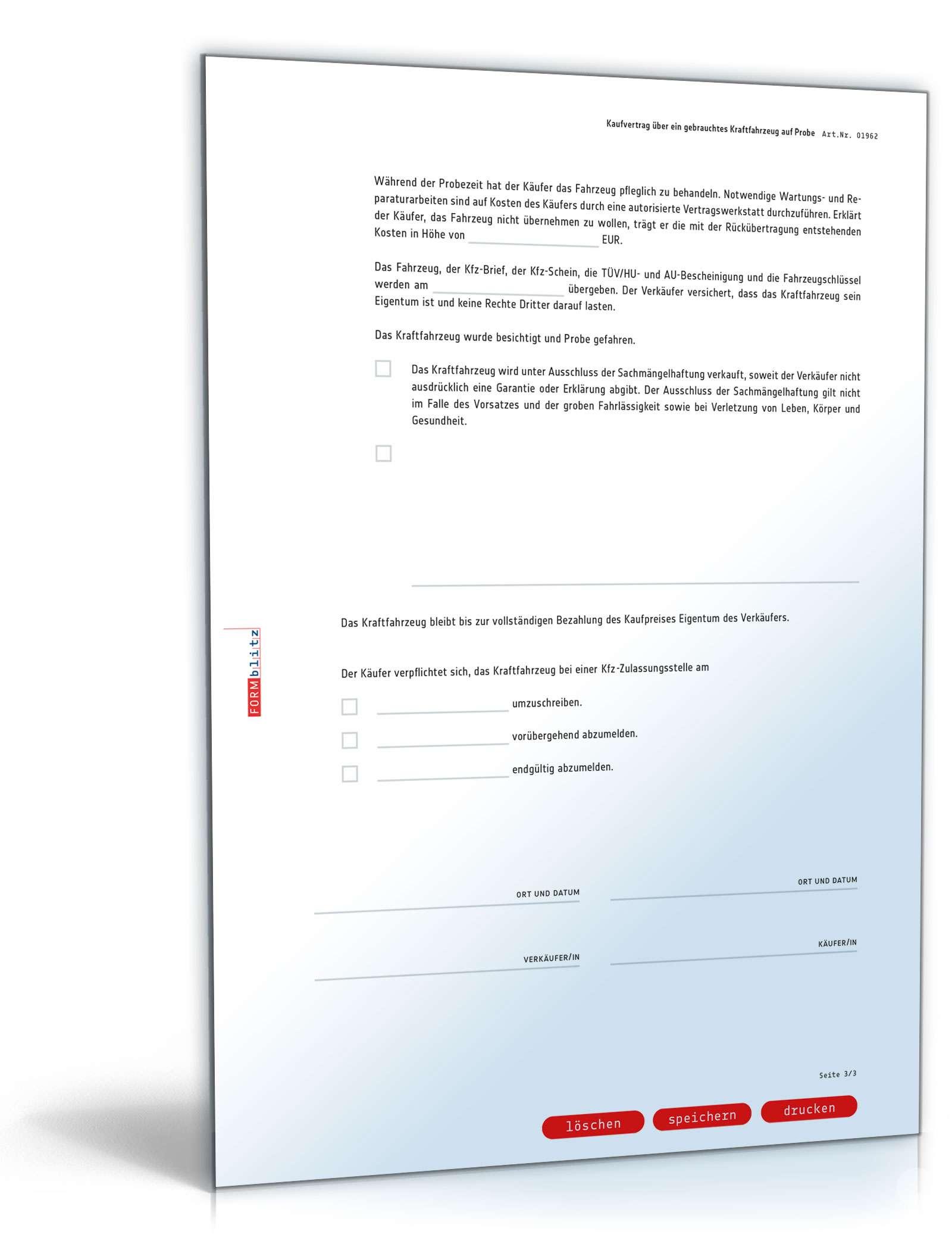 Kaufvertrag gebrauchtes Kfz auf Probe | Muster zum Download