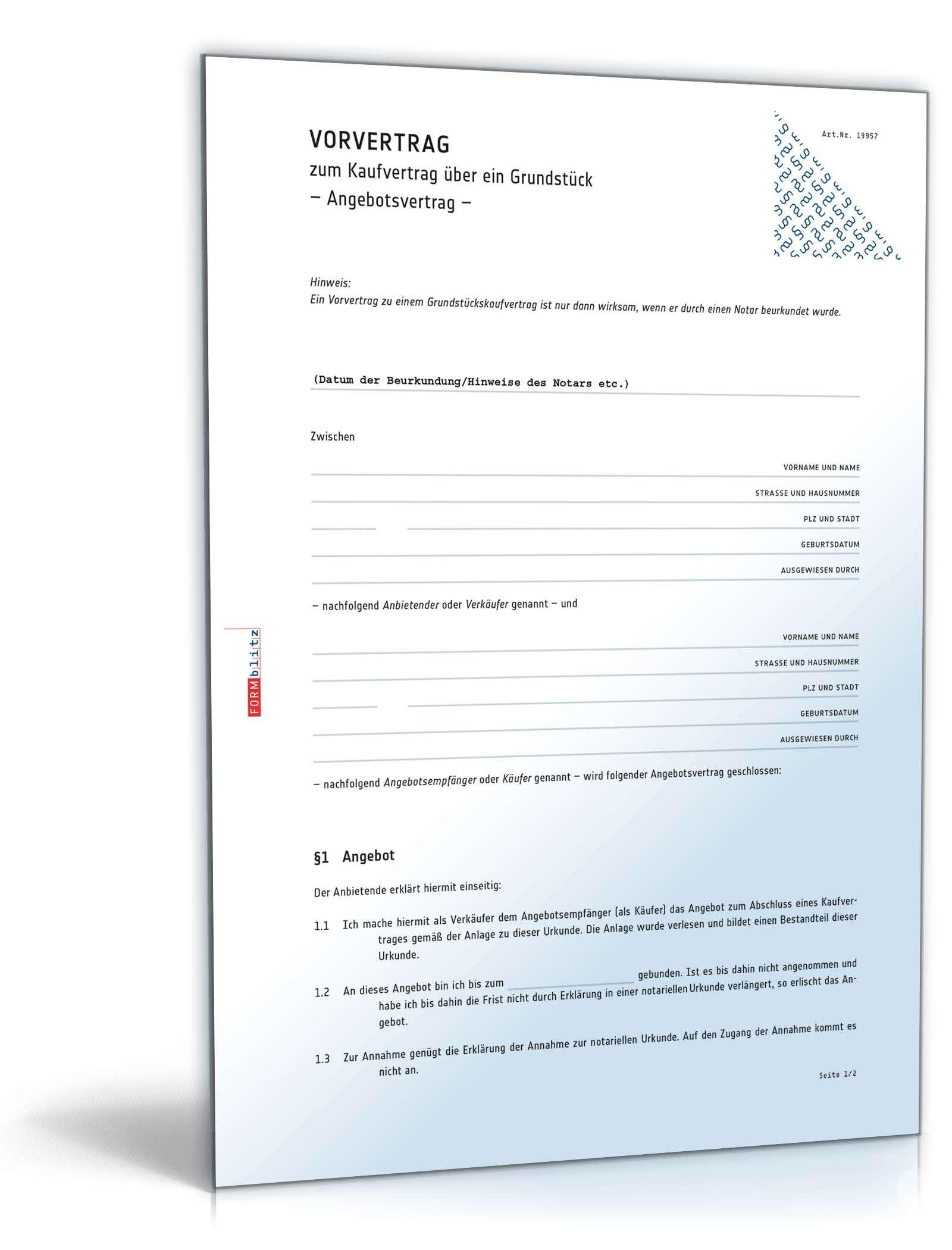 Vorvertrag Grundstückskaufvertrag Muster Zum Download