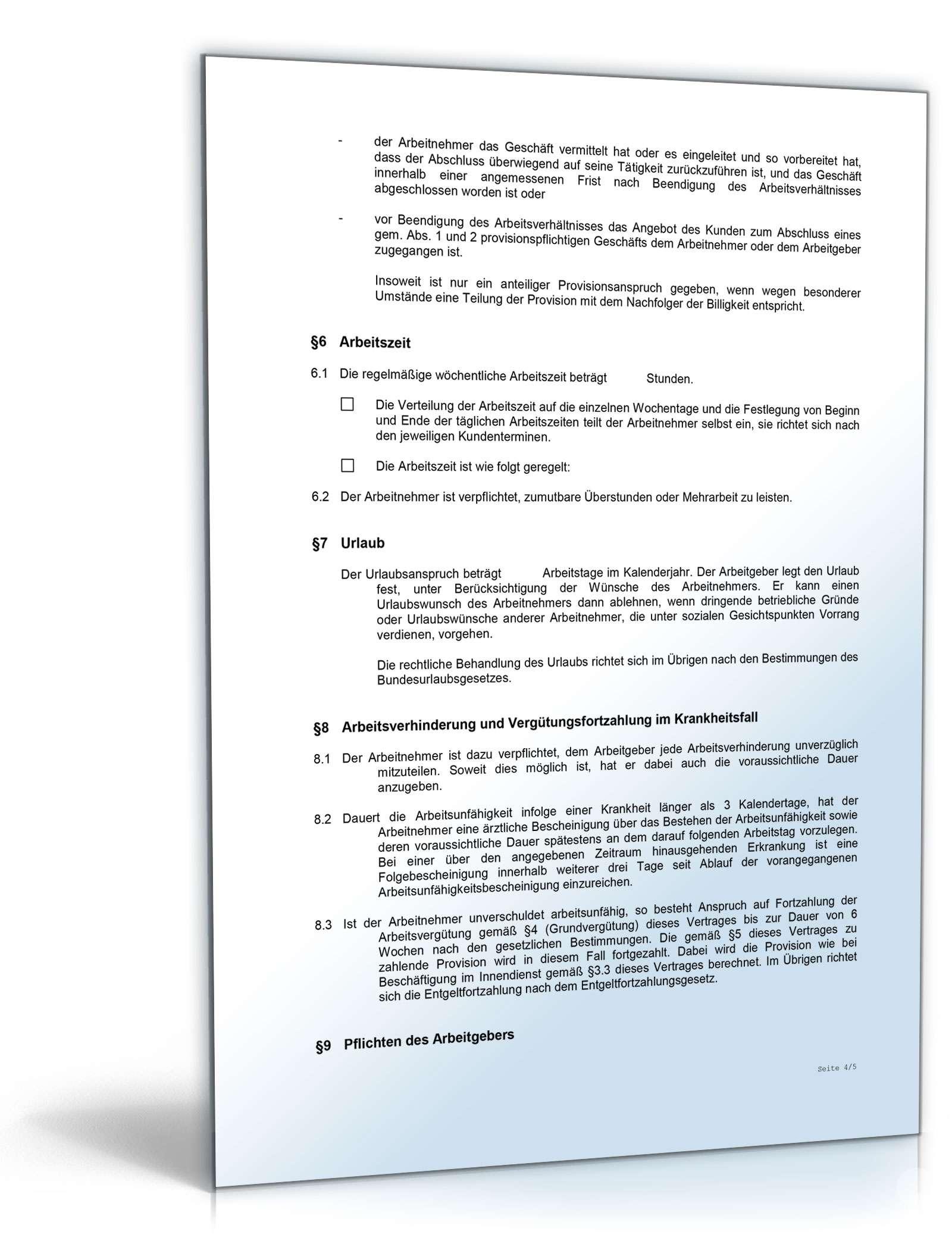 Arbeitsvertrag Provisionsvereinbarung Muster Zum Download