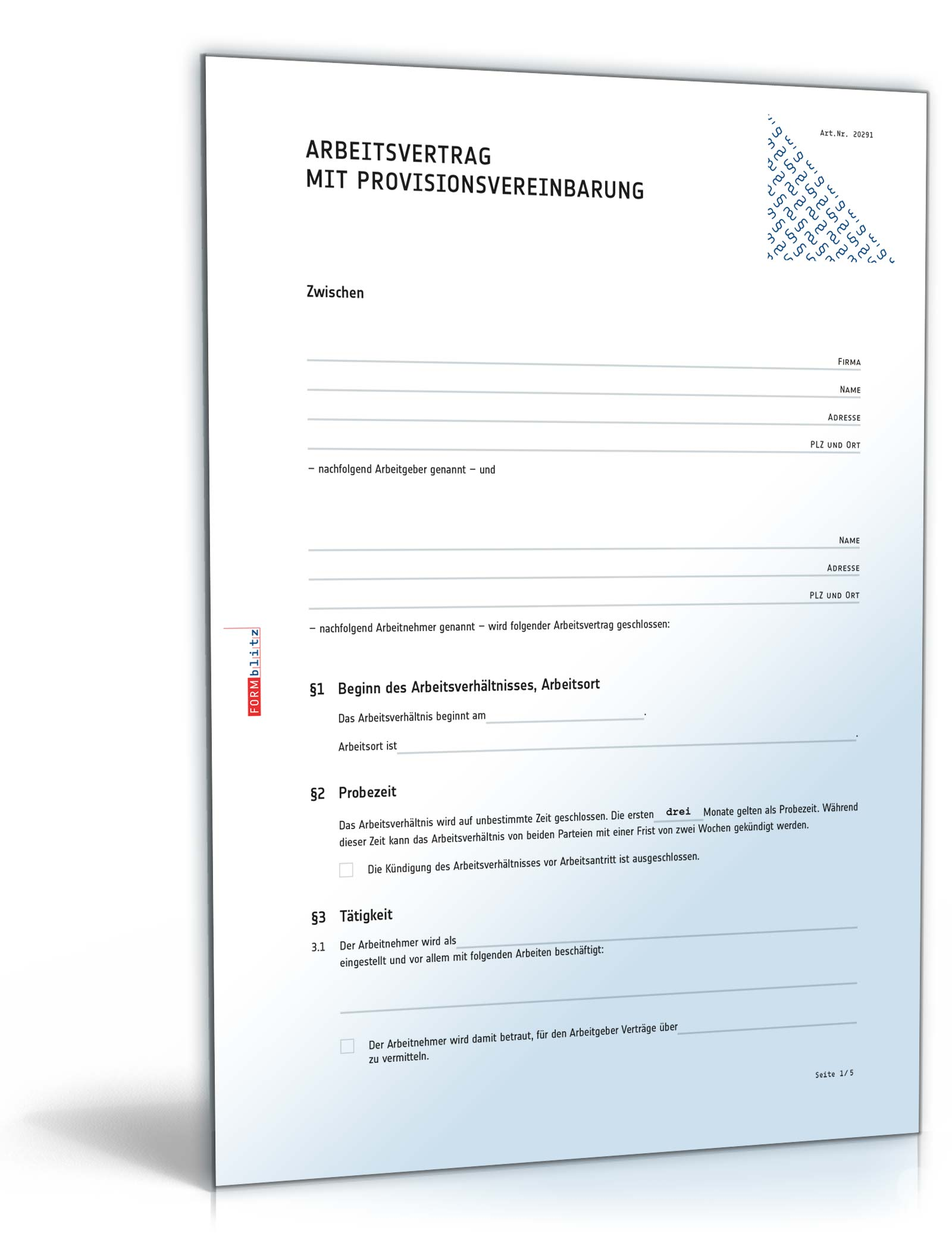 Arbeitsvertrag Provisionsvereinbarung Muster Zum Download
