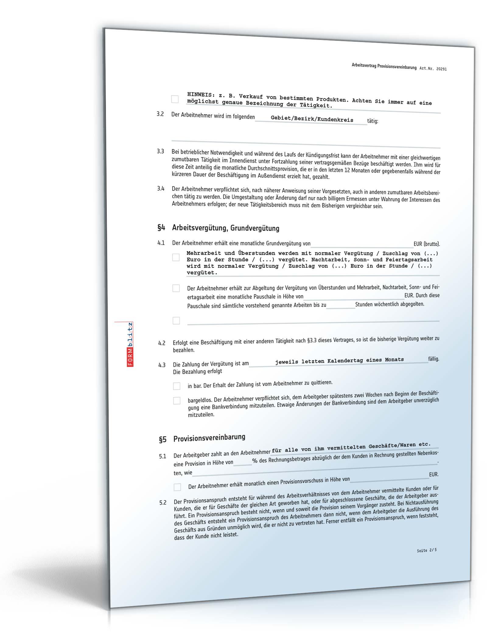 arbeitsvertrag provisionsvereinbarung pdf seite 02 - Provisionsvereinbarung Muster