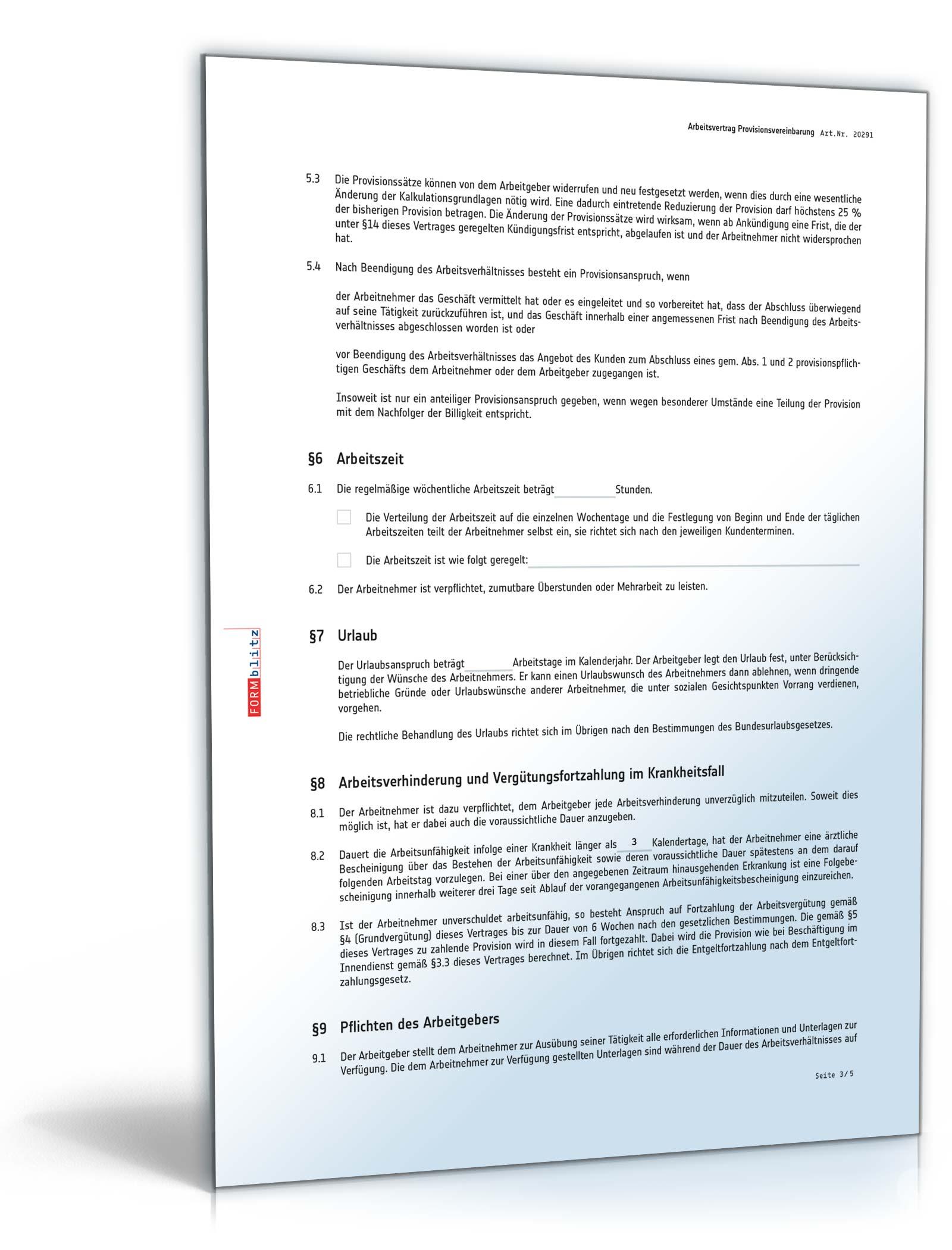arbeitsvertrag provisionsvereinbarung pdf seite 03 - Provisionsvereinbarung Muster