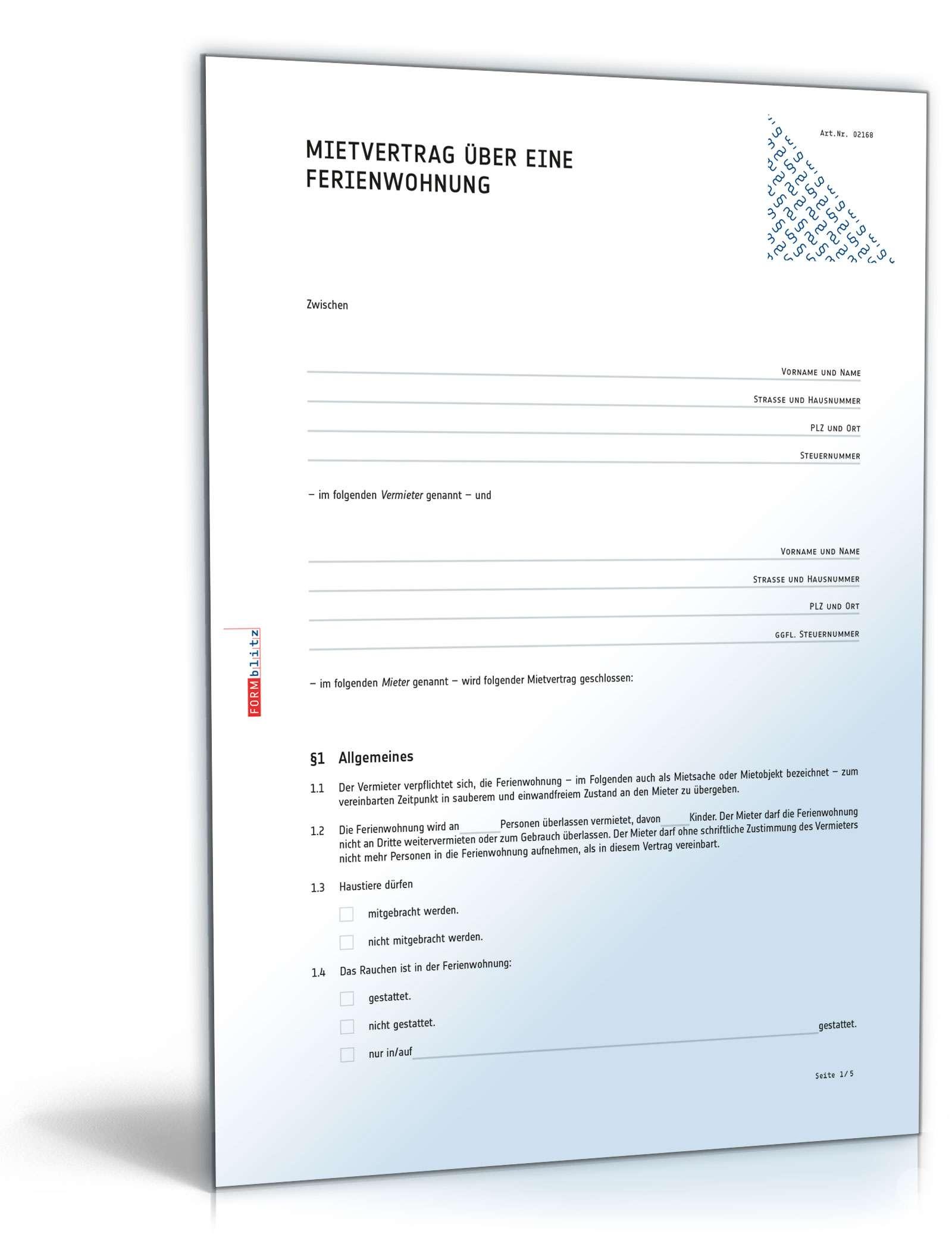 Mietvertrag Ferienwohnung Rechtssicheres Muster zum Download