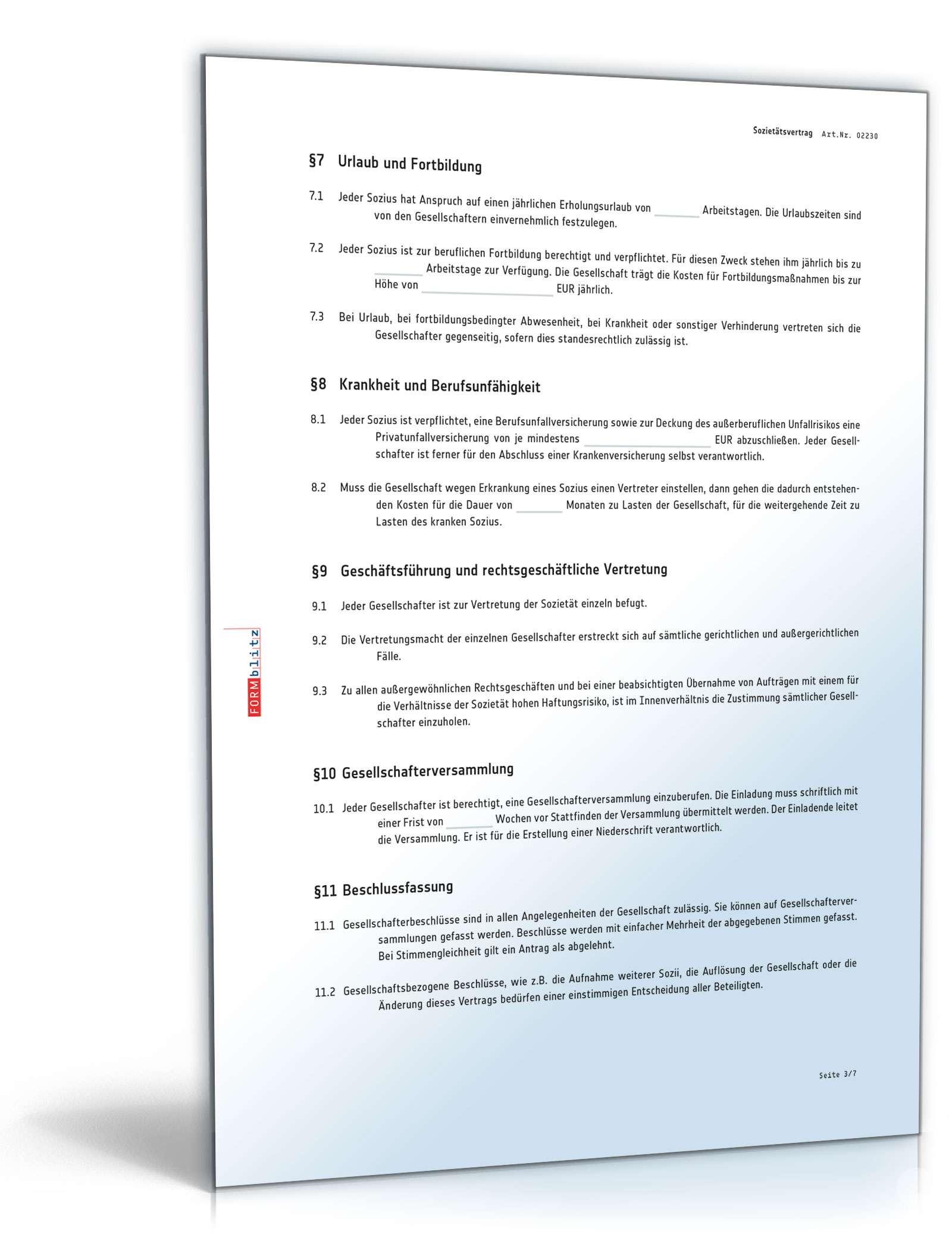Sozietätsvertrag | Rechtssicheres Muster zum Download