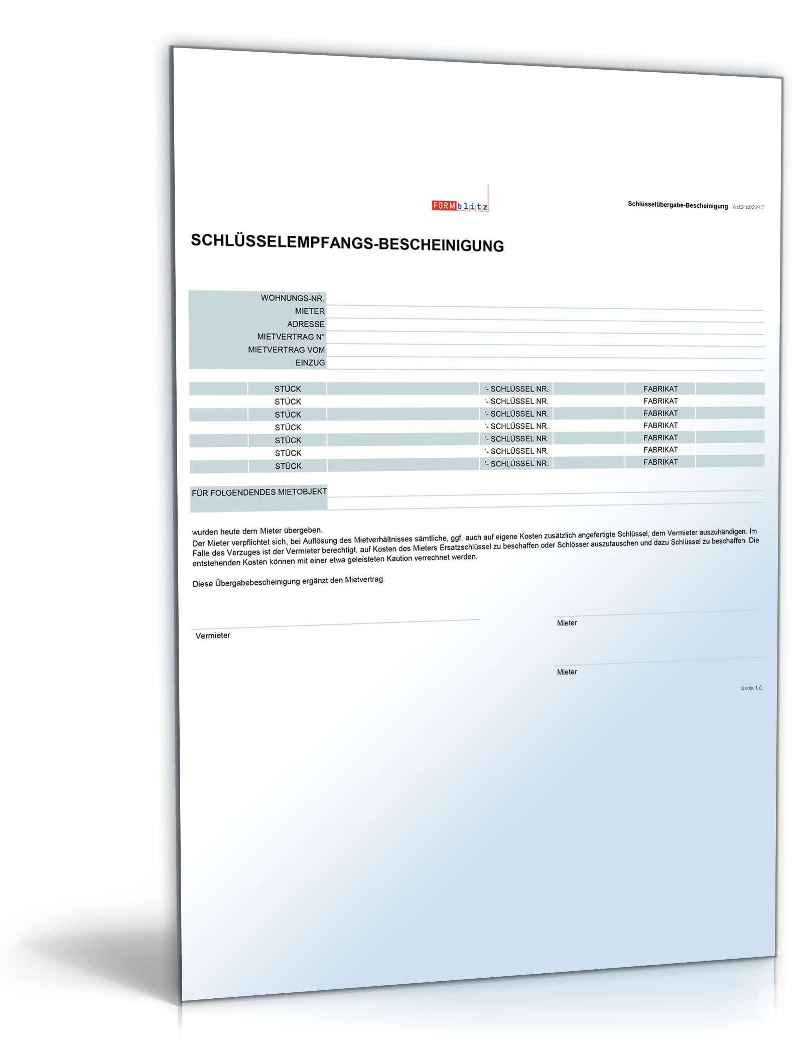 Schlussel Empfangsbescheinigung Muster Zum Download