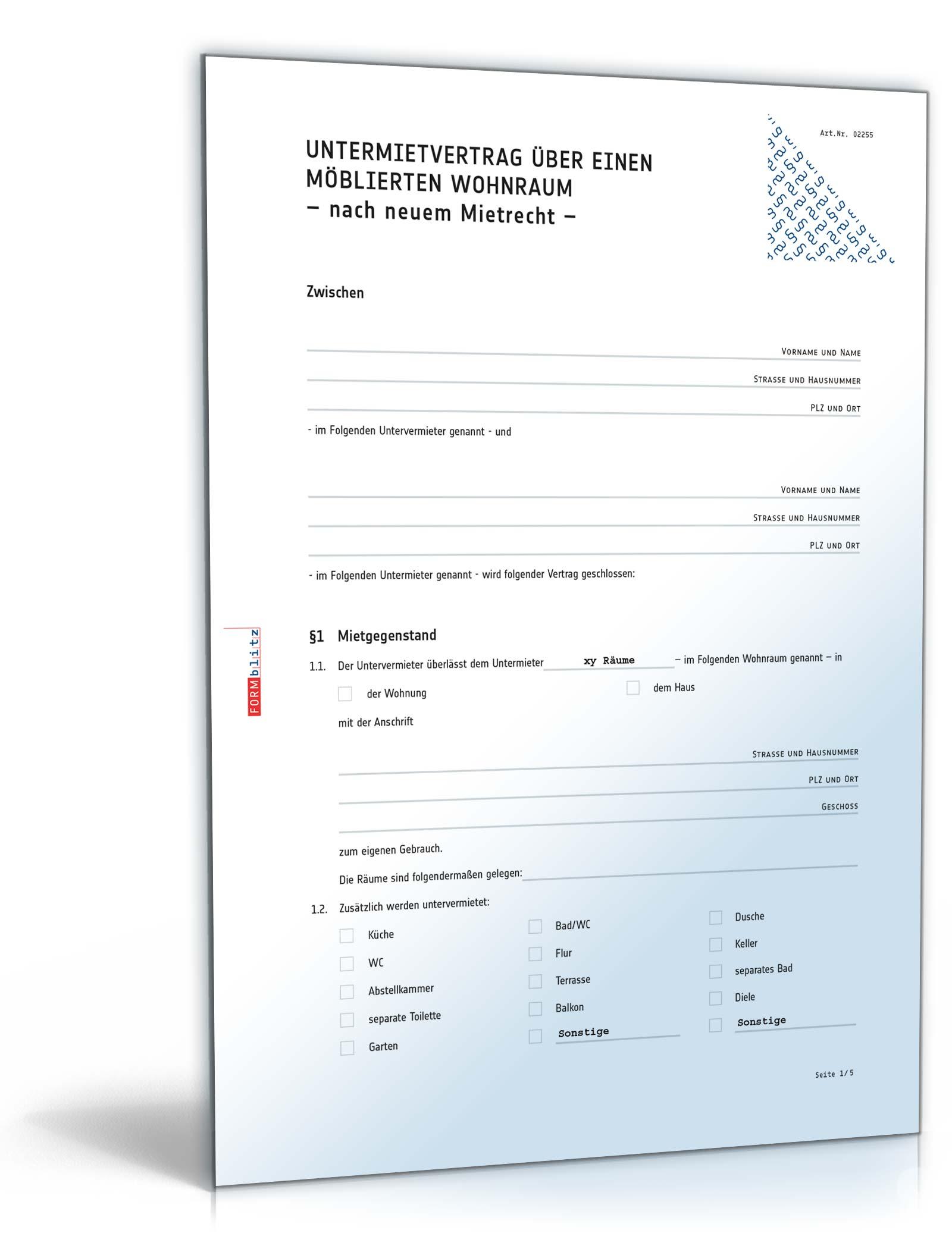Untermietvertrag Möblierte Wohnung Muster Zum Download