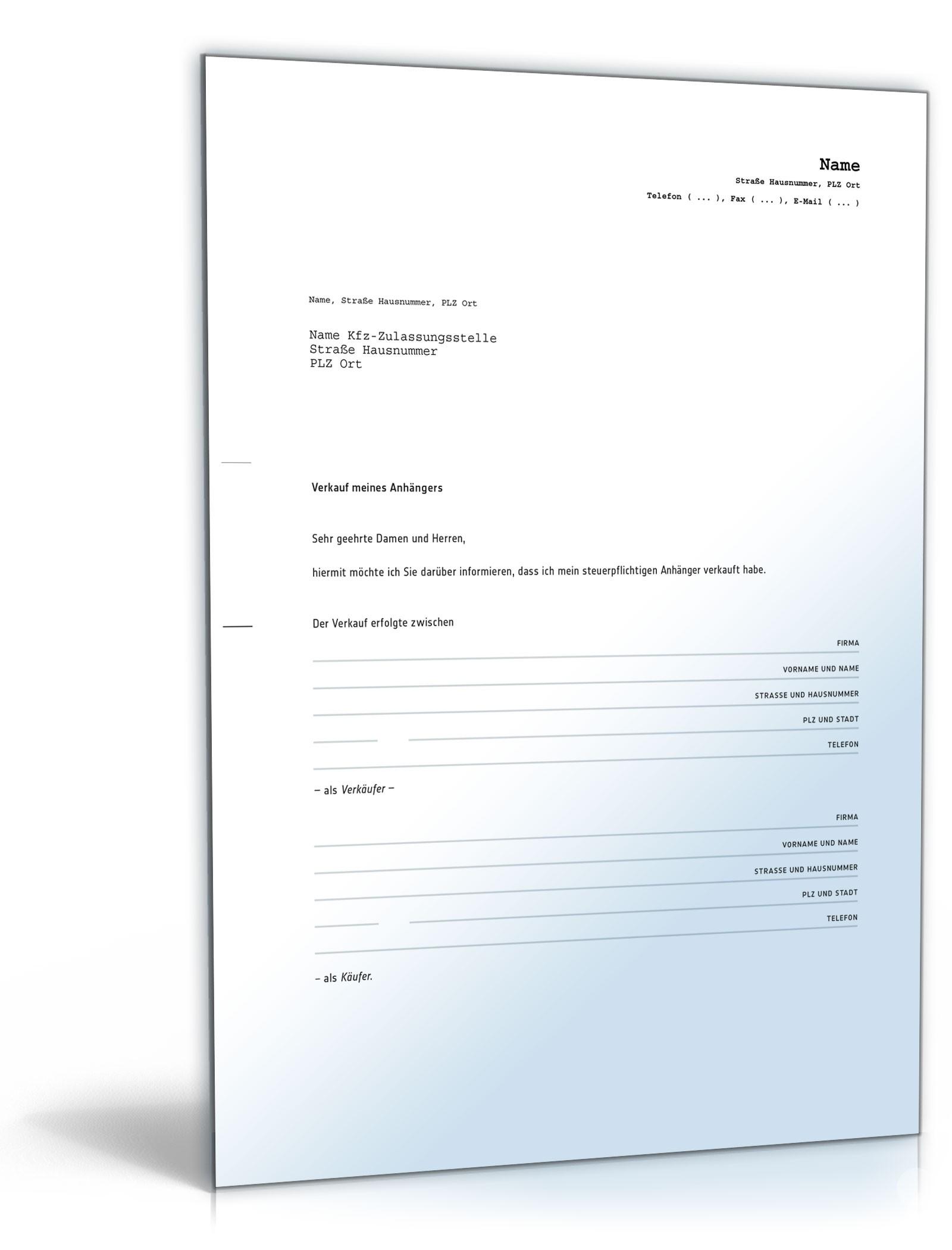 Kaufvertrag küche pdf  kaufvertrag über einen gebrauchten anhänger ? de vertrag download ...