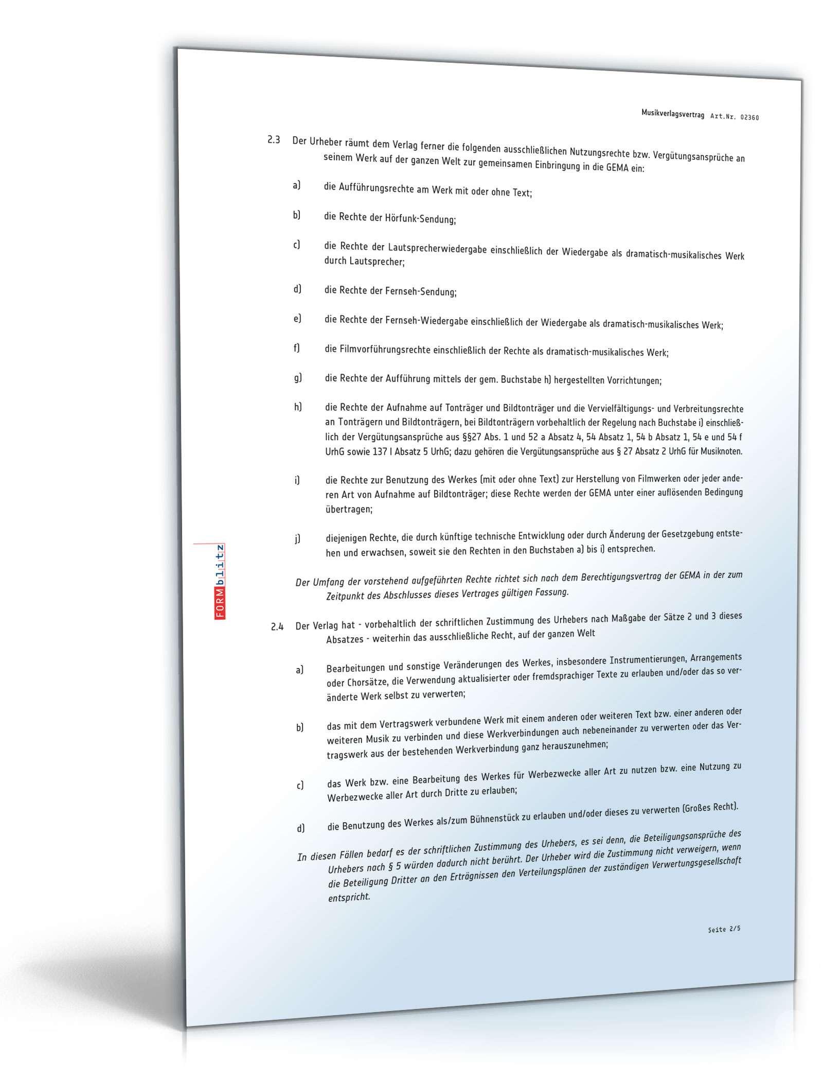 Musikverlagsvertrag Rechtssichere Muster Zum Download
