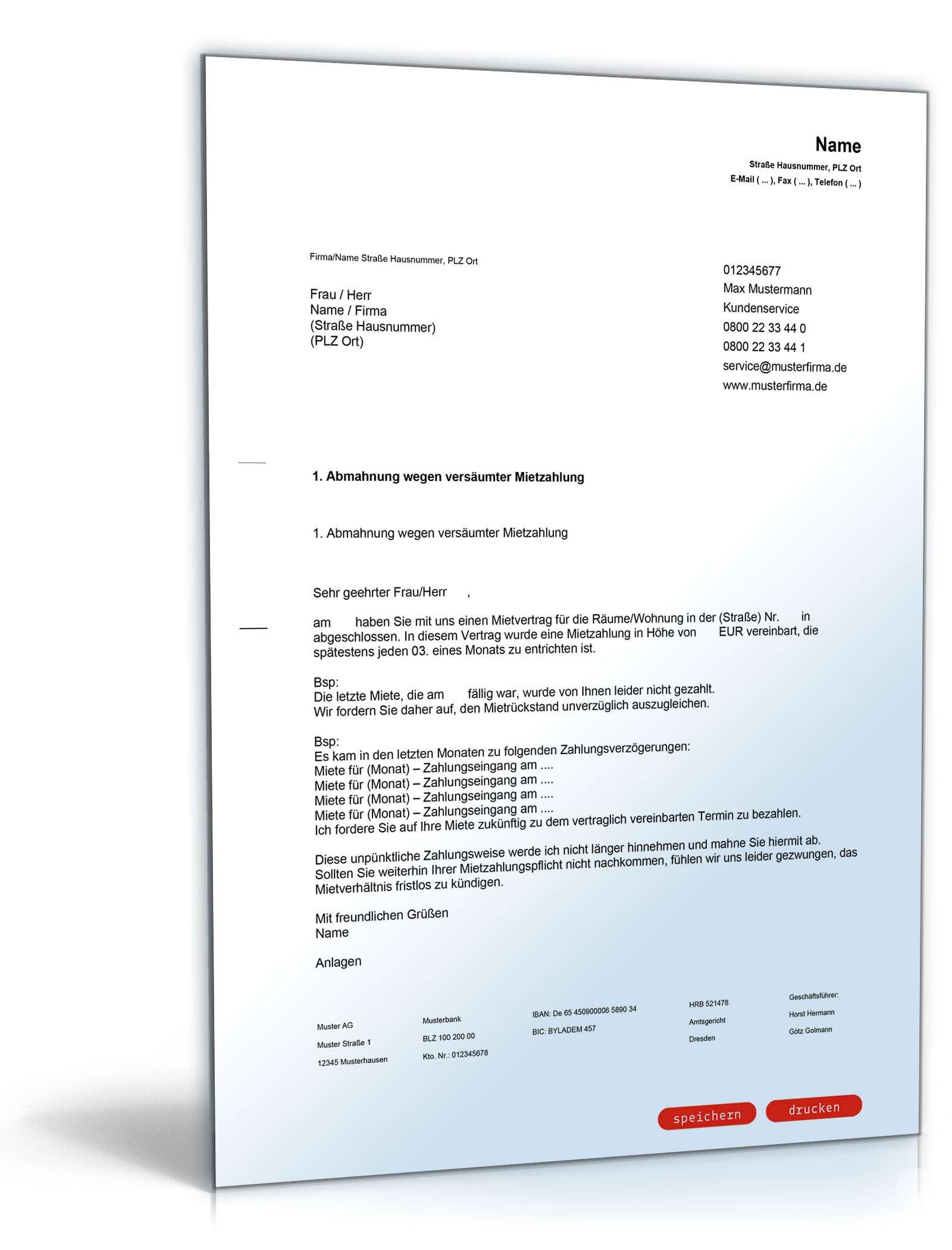Mahnung Betriebskostennachzahlung Dokument zum Download
