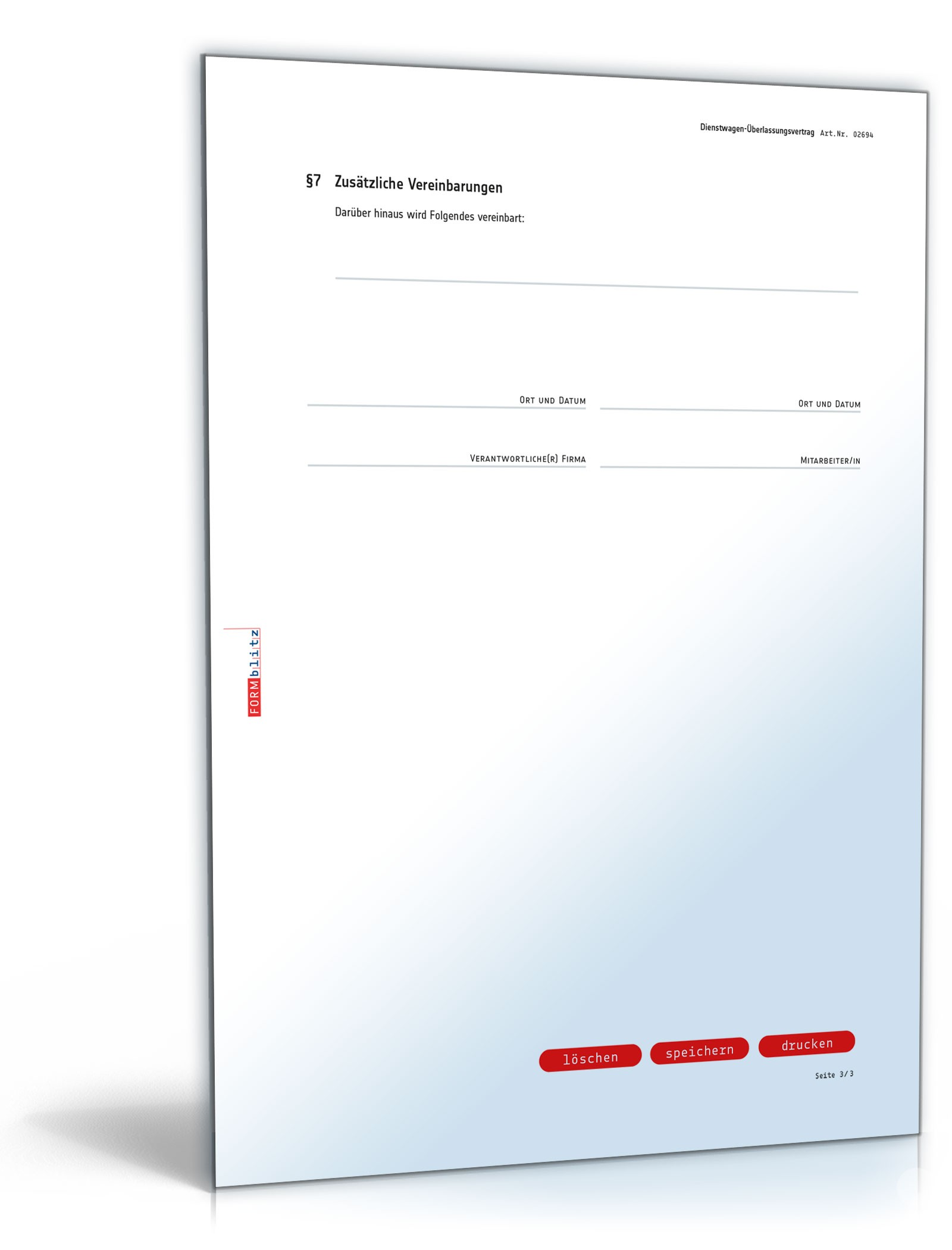 Dienstwagen überlassungsvertrag Muster Zum Download