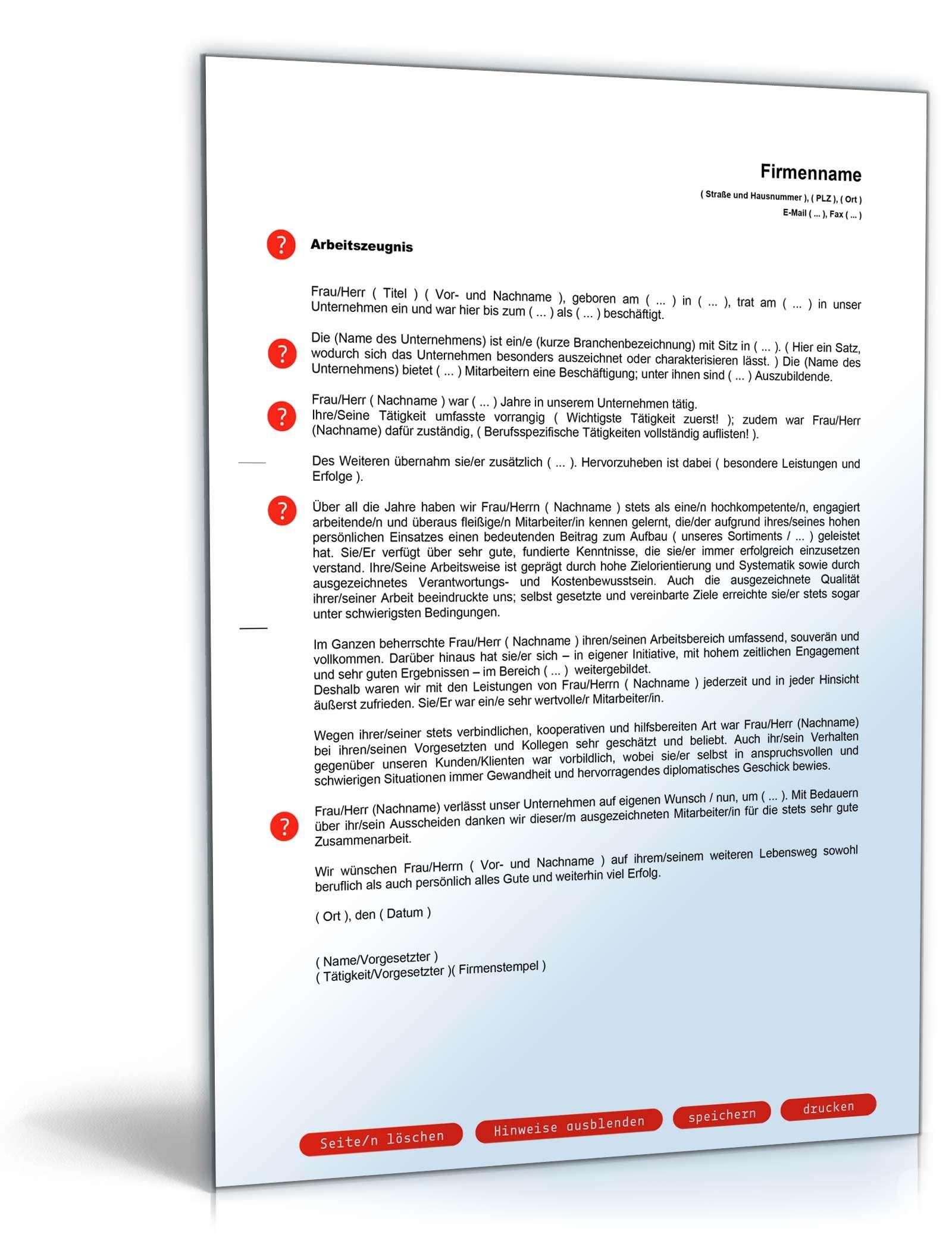 Arbeitszeugnis Sehr Gut Rechtssicheres Muster Zum Download