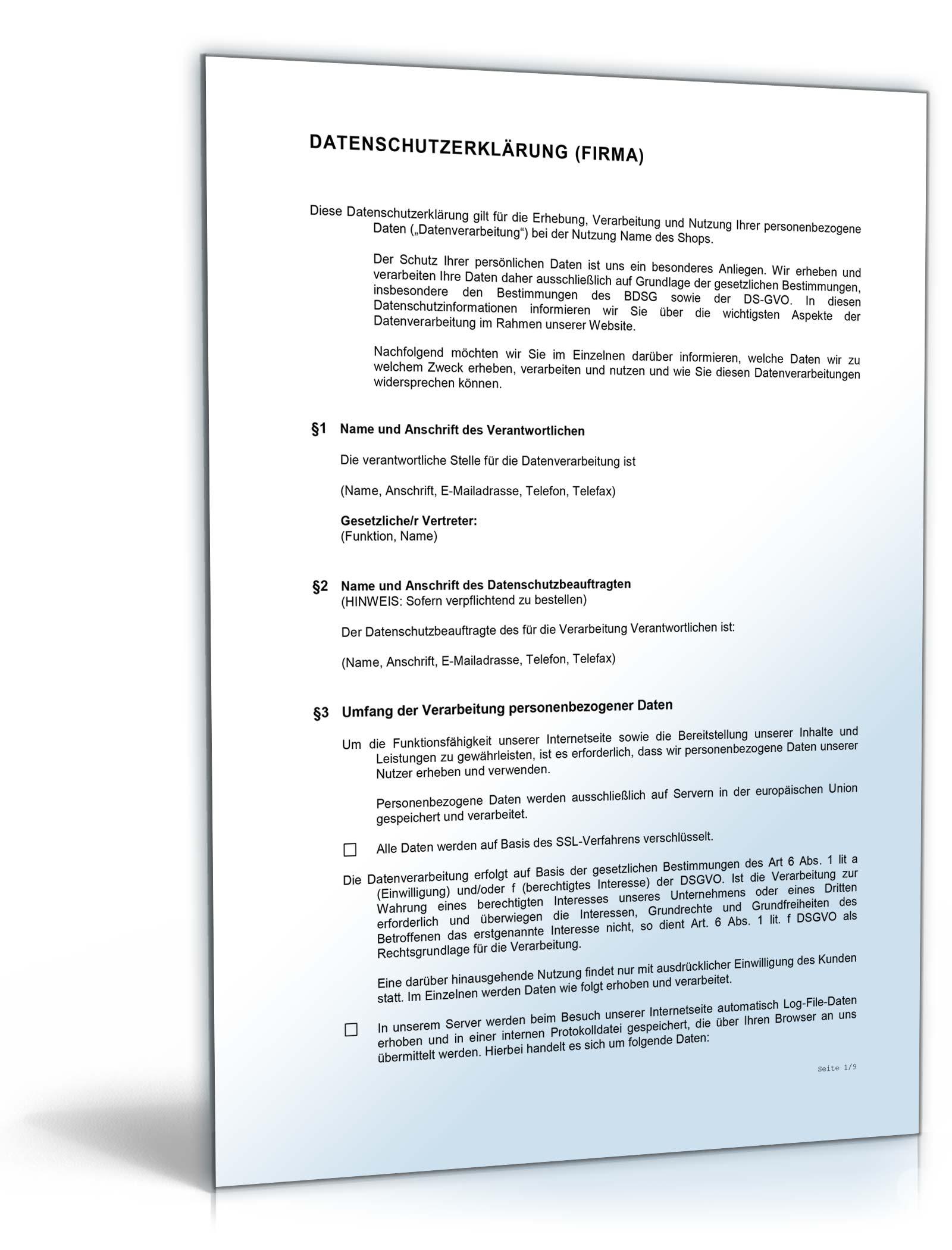 datenschutzerklrung online shop dsgvo - Muster Datenschutzerklarung